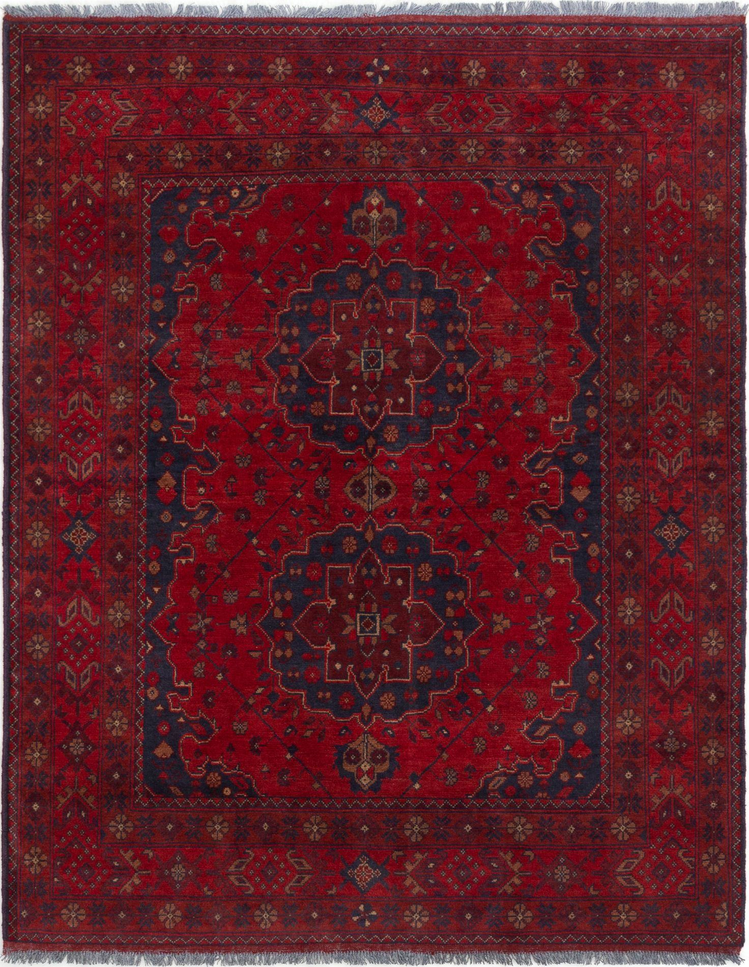 """Hand-knotted Finest Khal Mohammadi Red Wool Rug 4'11"""" x 6'4""""  Size: 4'11"""" x 6'4"""""""