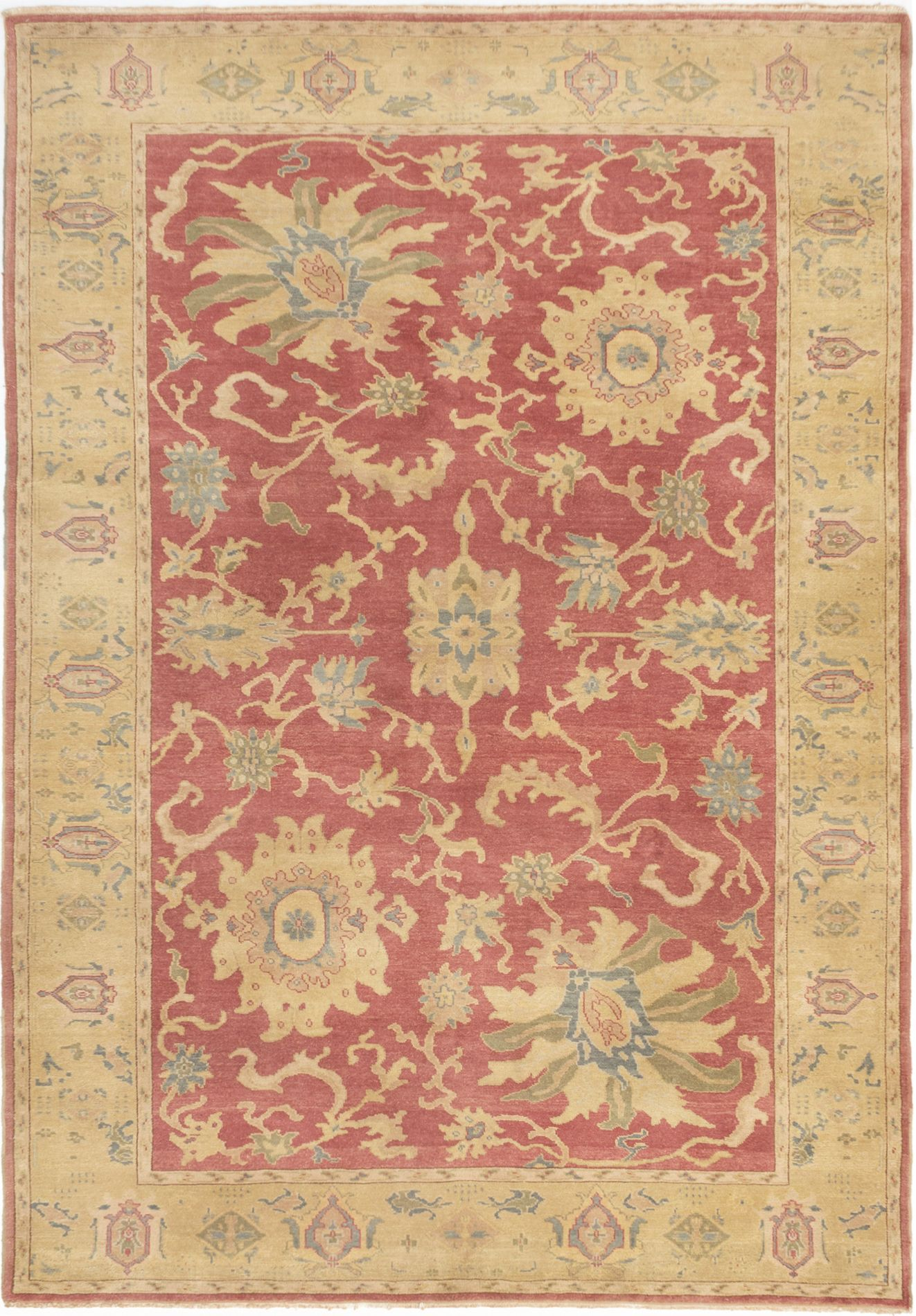 """Hand-knotted Authentic Ushak Burgundy Wool Rug 6'4"""" x 8'10"""" Size: 6'4"""" x 8'10"""""""