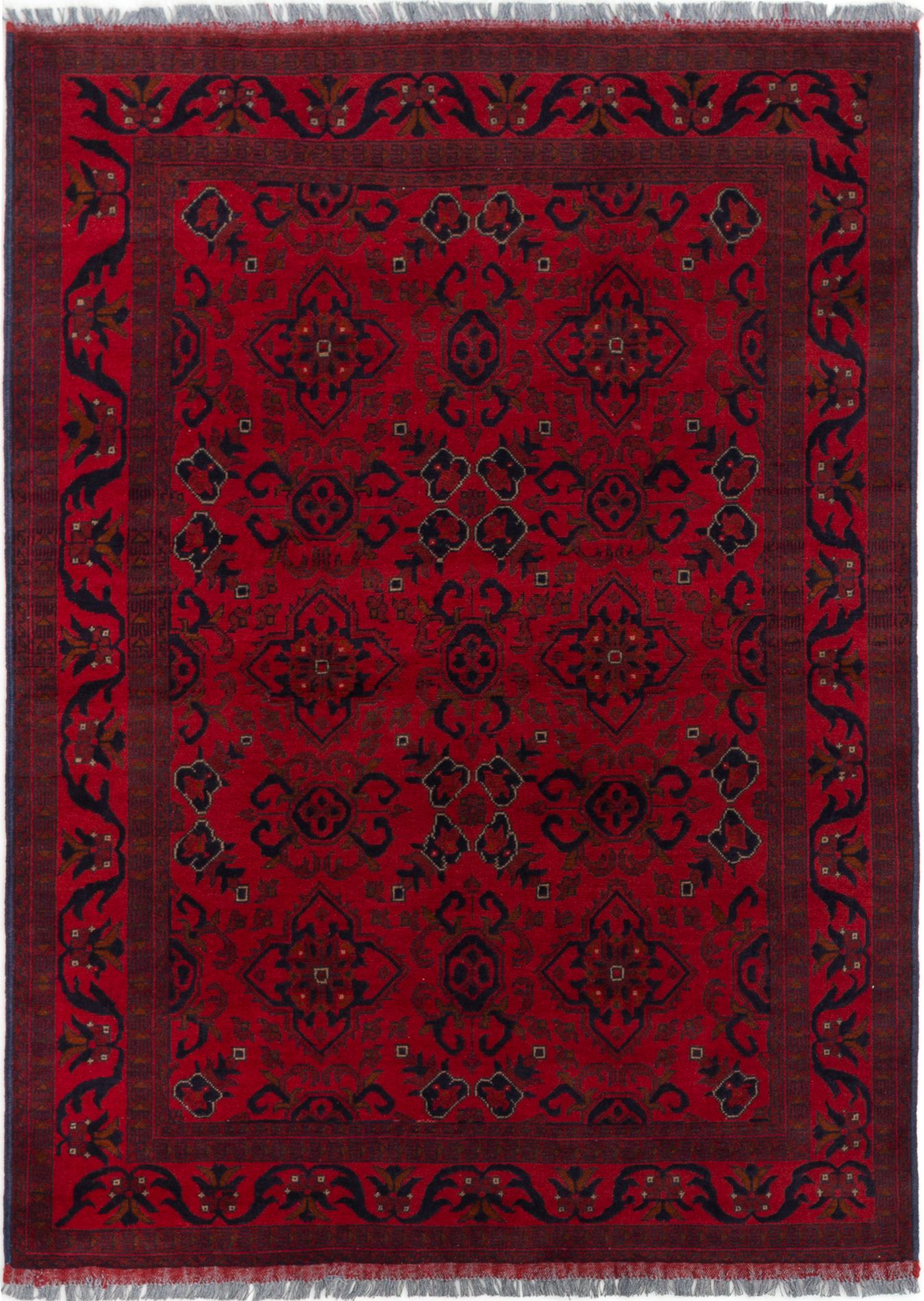 """Hand-knotted Finest Khal Mohammadi Red Wool Rug 4'9"""" x 6'6""""  Size: 4'9"""" x 6'6"""""""