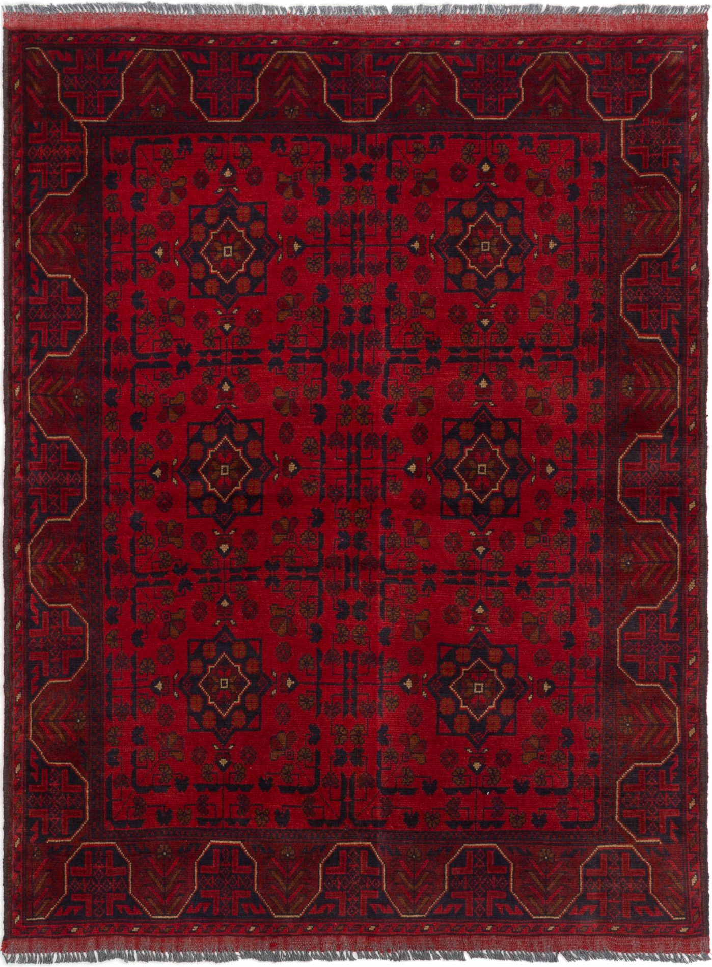 """Hand-knotted Finest Khal Mohammadi Red Wool Rug 4'11"""" x 6'5""""  Size: 4'11"""" x 6'5"""""""