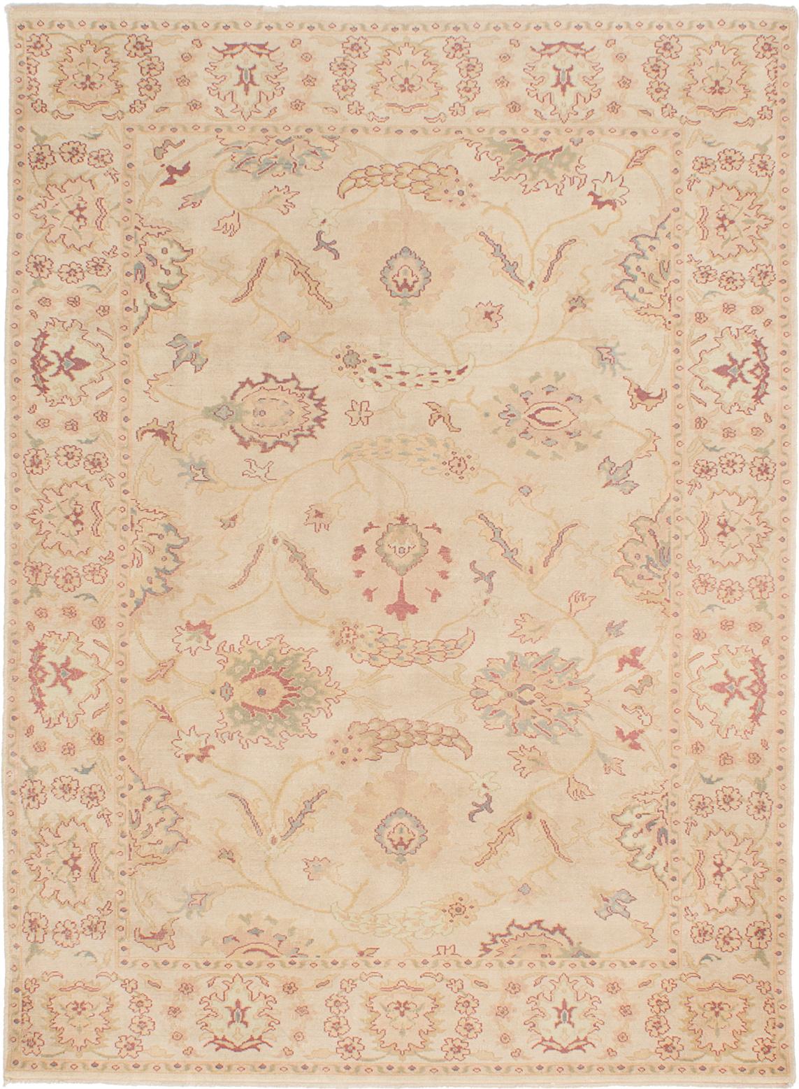 "Hand-knotted Authentic Ushak Ivory Wool Rug 6'2"" x 8'5"" Size: 6'2"" x 8'5"""