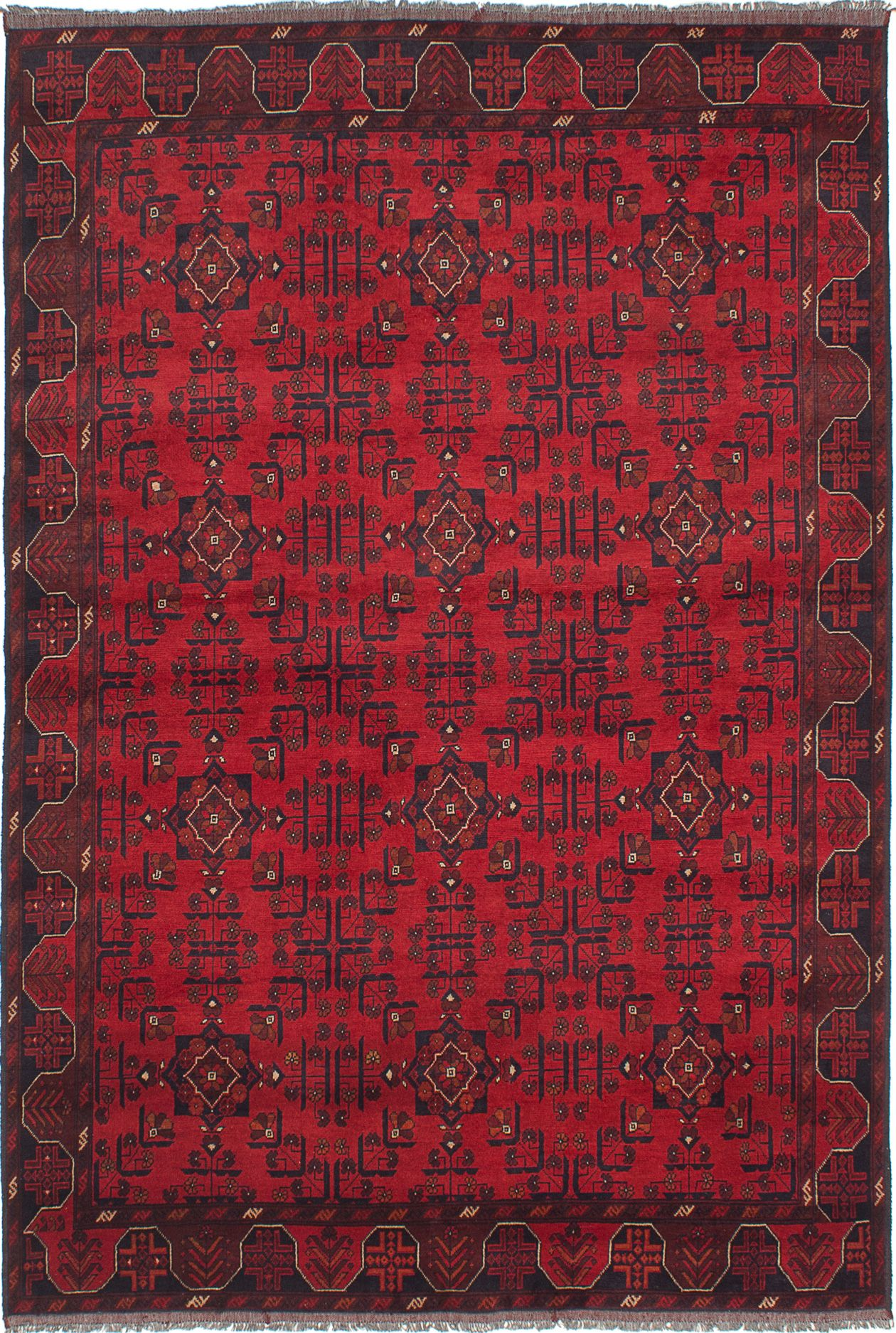"""Hand-knotted Finest Khal Mohammadi Red Wool Rug 6'6"""" x 9'7""""  Size: 6'6"""" x 9'7"""""""