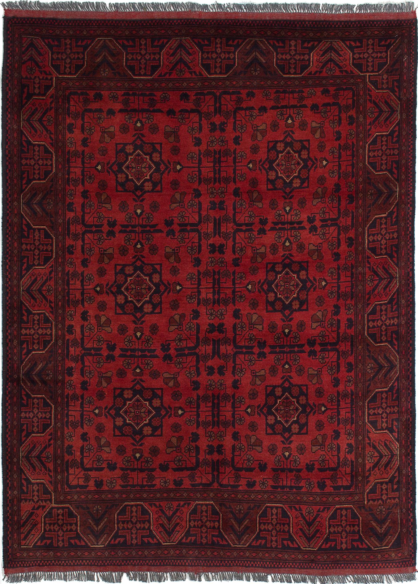 """Hand-knotted Finest Khal Mohammadi Red Wool Rug 4'11"""" x 6'10""""  Size: 4'11"""" x 6'10"""""""