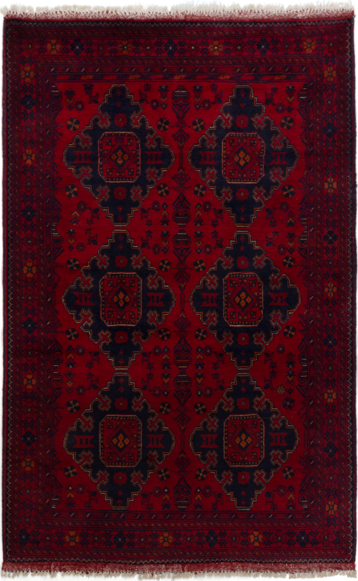"""Hand-knotted Finest Khal Mohammadi Red Wool Rug 4'0"""" x 6'5""""  Size: 4'0"""" x 6'5"""""""