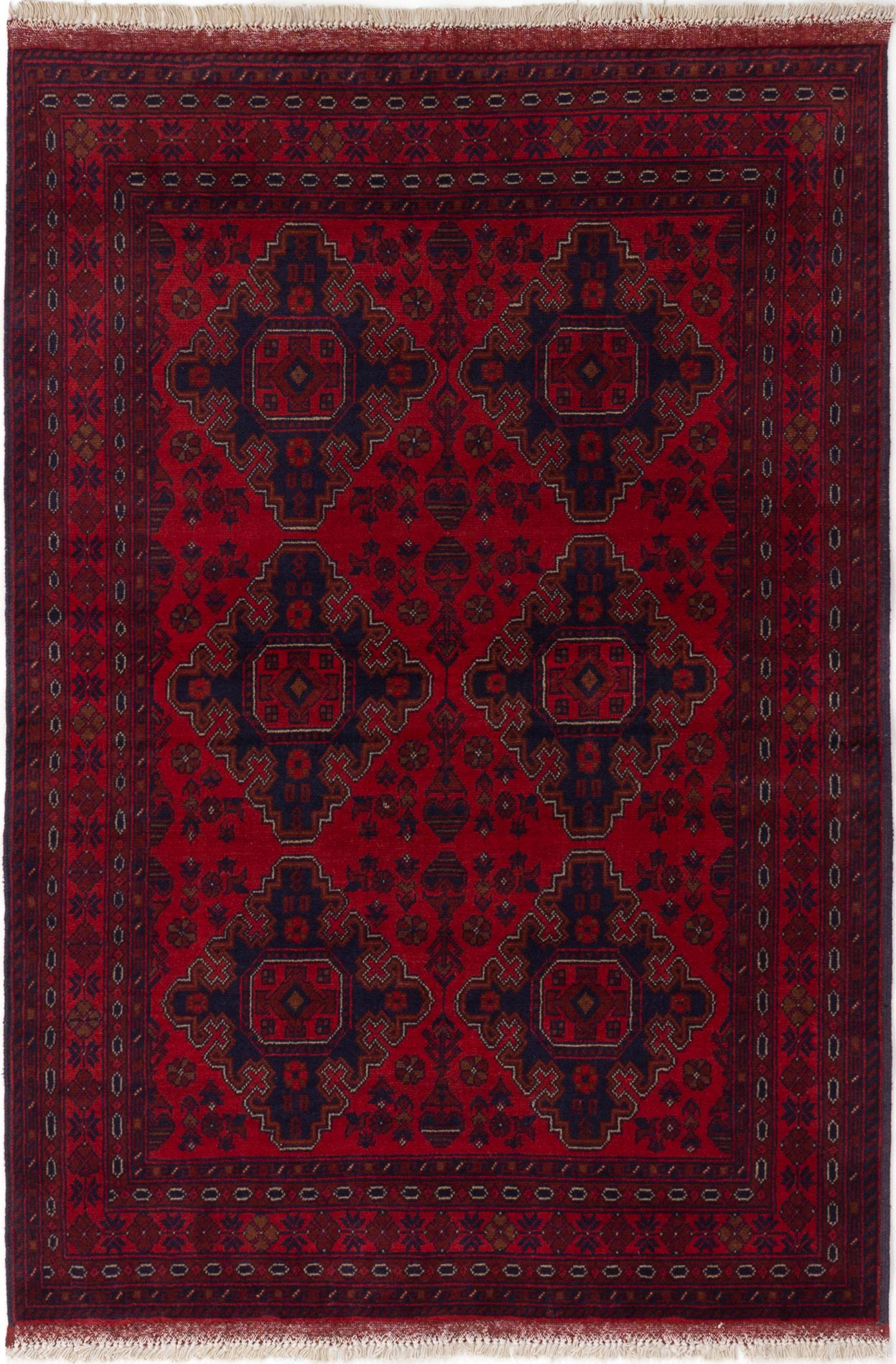 """Hand-knotted Finest Khal Mohammadi Red Wool Rug 4'2"""" x 6'2""""  Size: 4'2"""" x 6'2"""""""