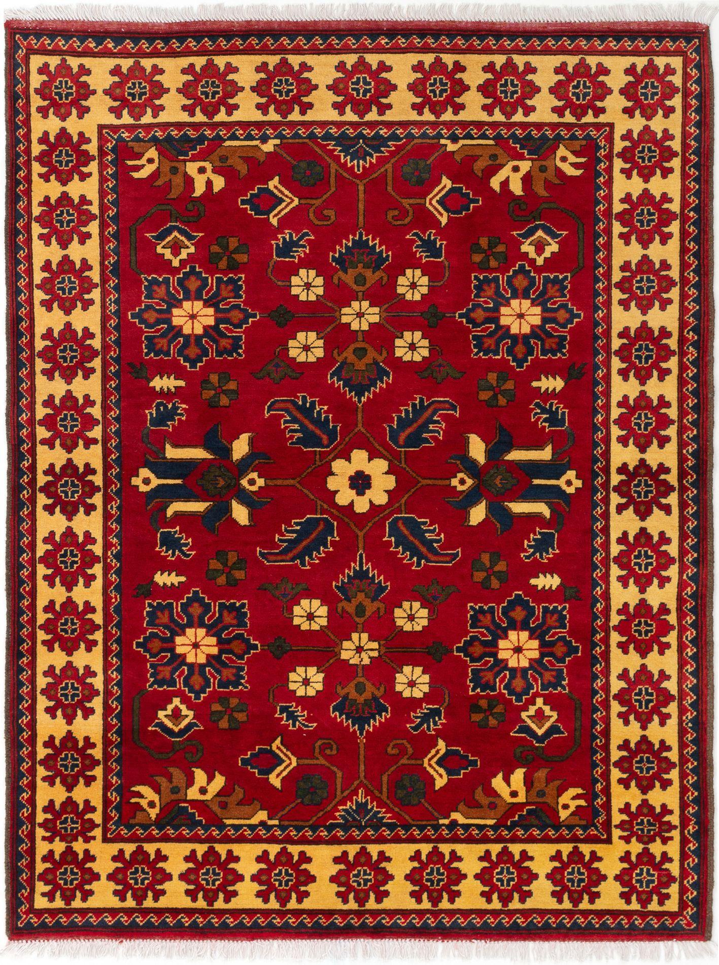 "Hand-knotted Finest Kargahi Dark Red Wool Rug 4'11"" x 6'5"" Size: 4'11"" x 6'5"""