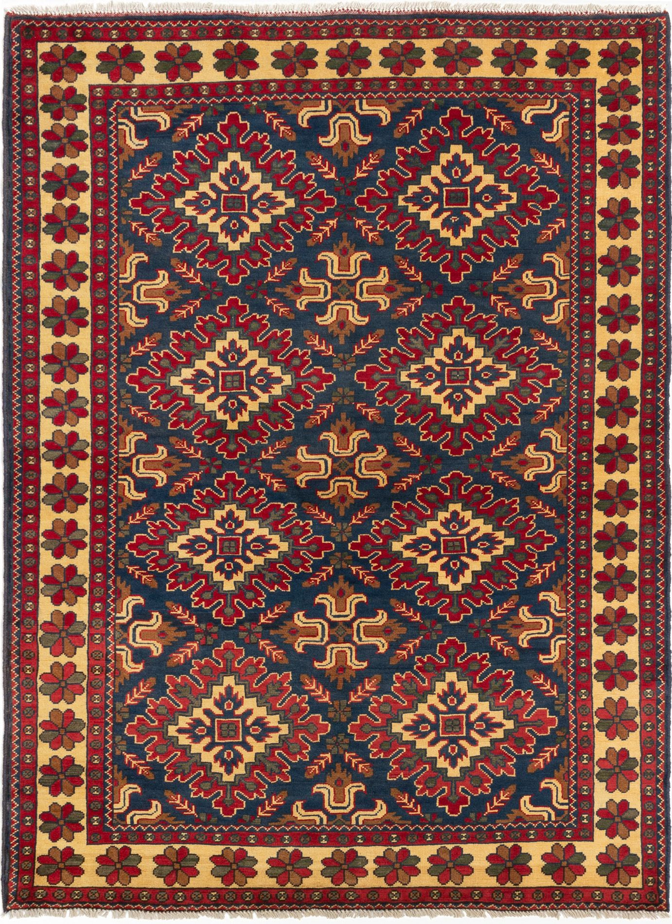 """Hand-knotted Finest Kargahi Navy Blue Wool Rug 5'0"""" x 6'10"""" Size: 5'0"""" x 6'10"""""""