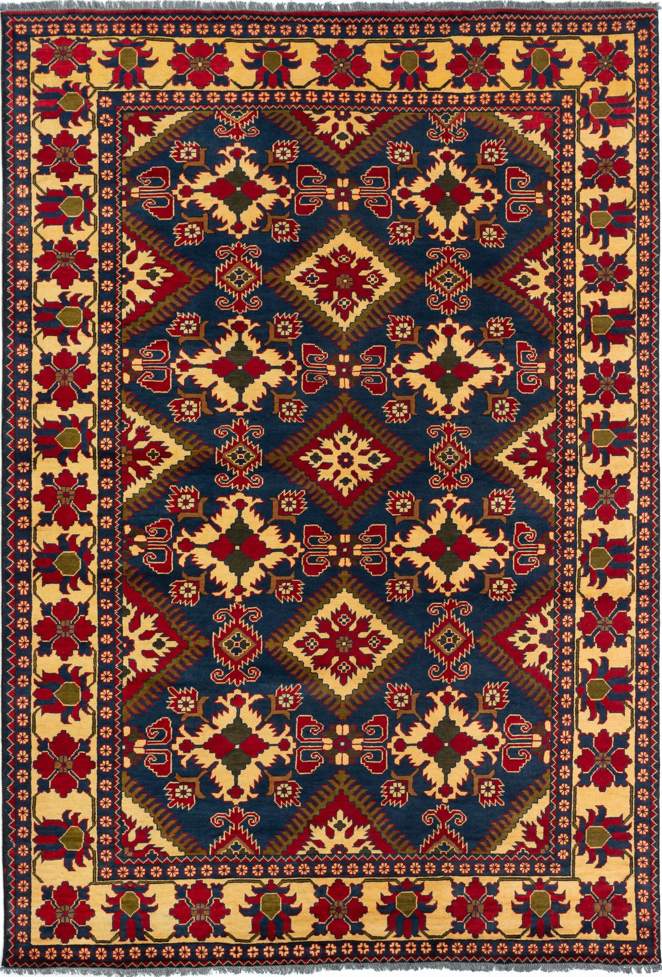 """Hand-knotted Finest Kargahi Navy Blue Wool Rug 6'7"""" x 9'9"""" Size: 6'7"""" x 9'9"""""""