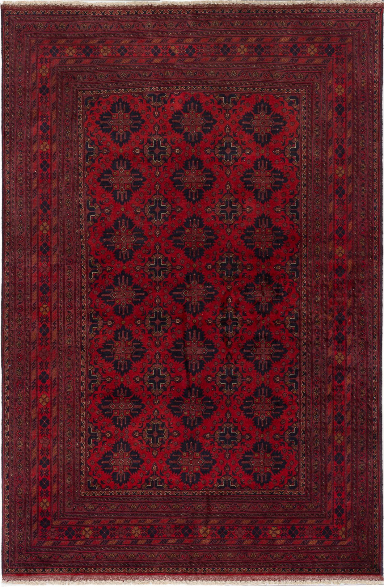 """Hand-knotted Finest Khal Mohammadi Red Wool Rug 6'6"""" x 9'9""""  Size: 6'6"""" x 9'9"""""""