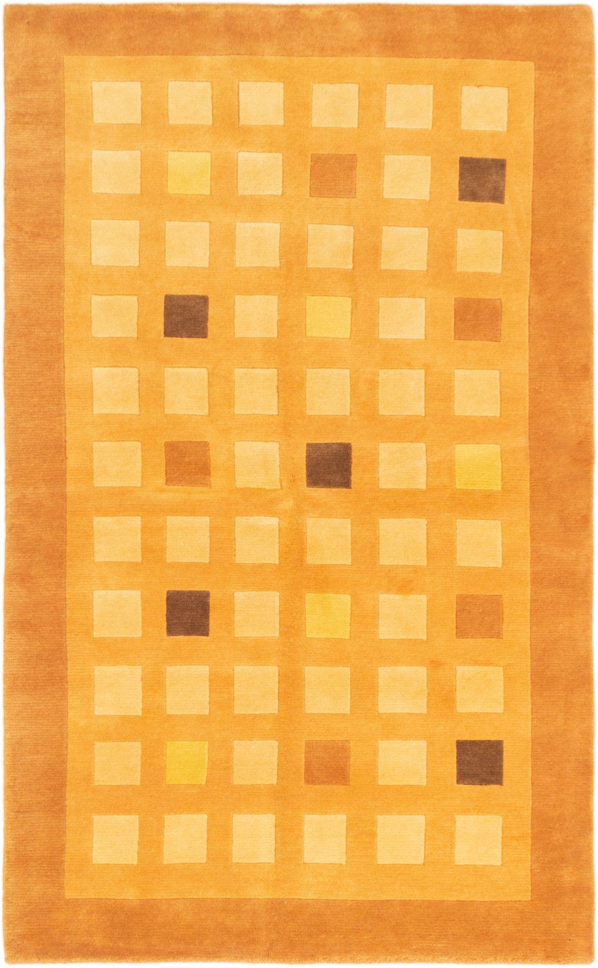 "Hand-knotted Karma Light Orange Wool Rug 4'9"" x 8'0"" Size: 4'9"" x 8'0"""
