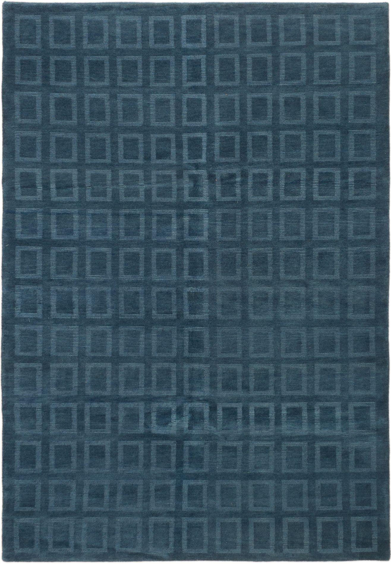 "Hand-knotted Karma Dark Baby Blue Wool Rug 6'0"" x 8'9"" Size: 6'0"" x 8'9"""