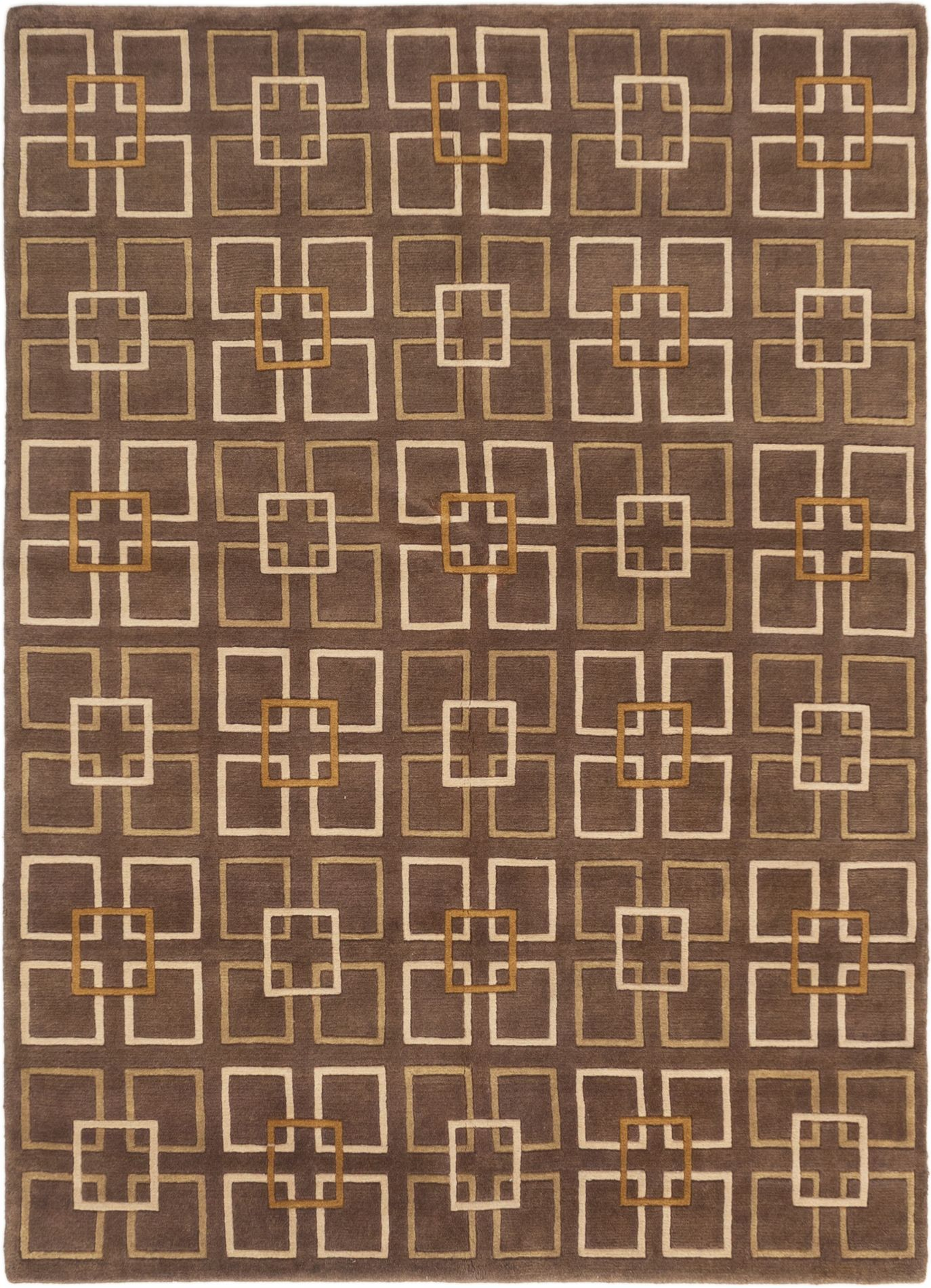 "Hand-knotted Karma Dark Brown Wool Rug 5'5"" x 7'7"" Size: 5'5"" x 7'7"""