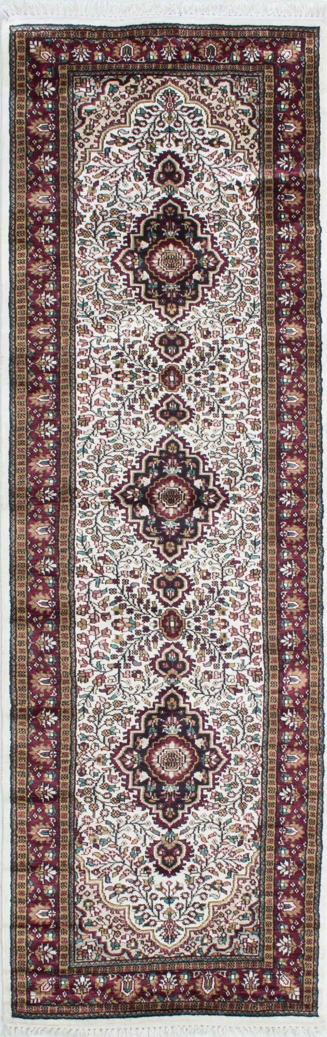 "Hand-knotted Kashmir Cream Silk Rug 2'8"" x 8'6"" Size: 2'8"" x 8'6"""