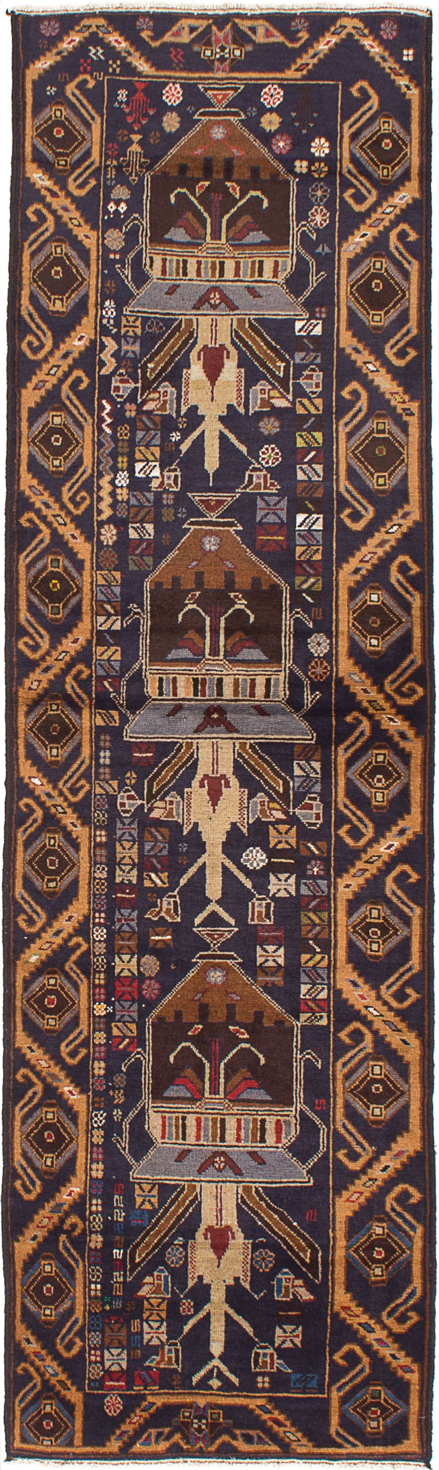 """Hand-knotted Royal Baluch Dark Navy Wool Rug 2'11"""" x 9'9"""" Size: 2'11"""" x 9'9"""""""