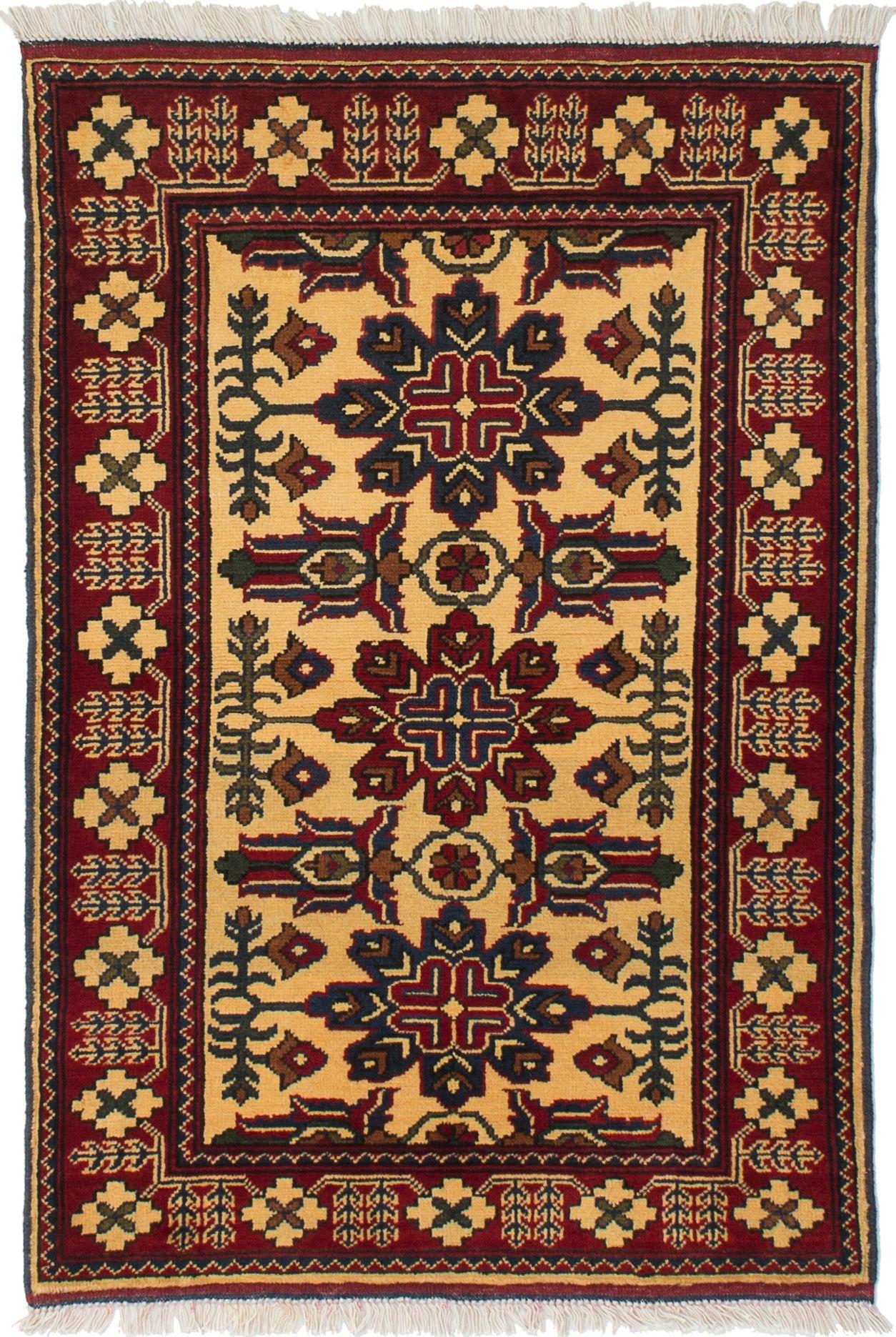 "Hand-knotted Finest Kargahi Cream Wool Rug 2'9"" x 4'2"" Size: 2'9"" x 4'2"""