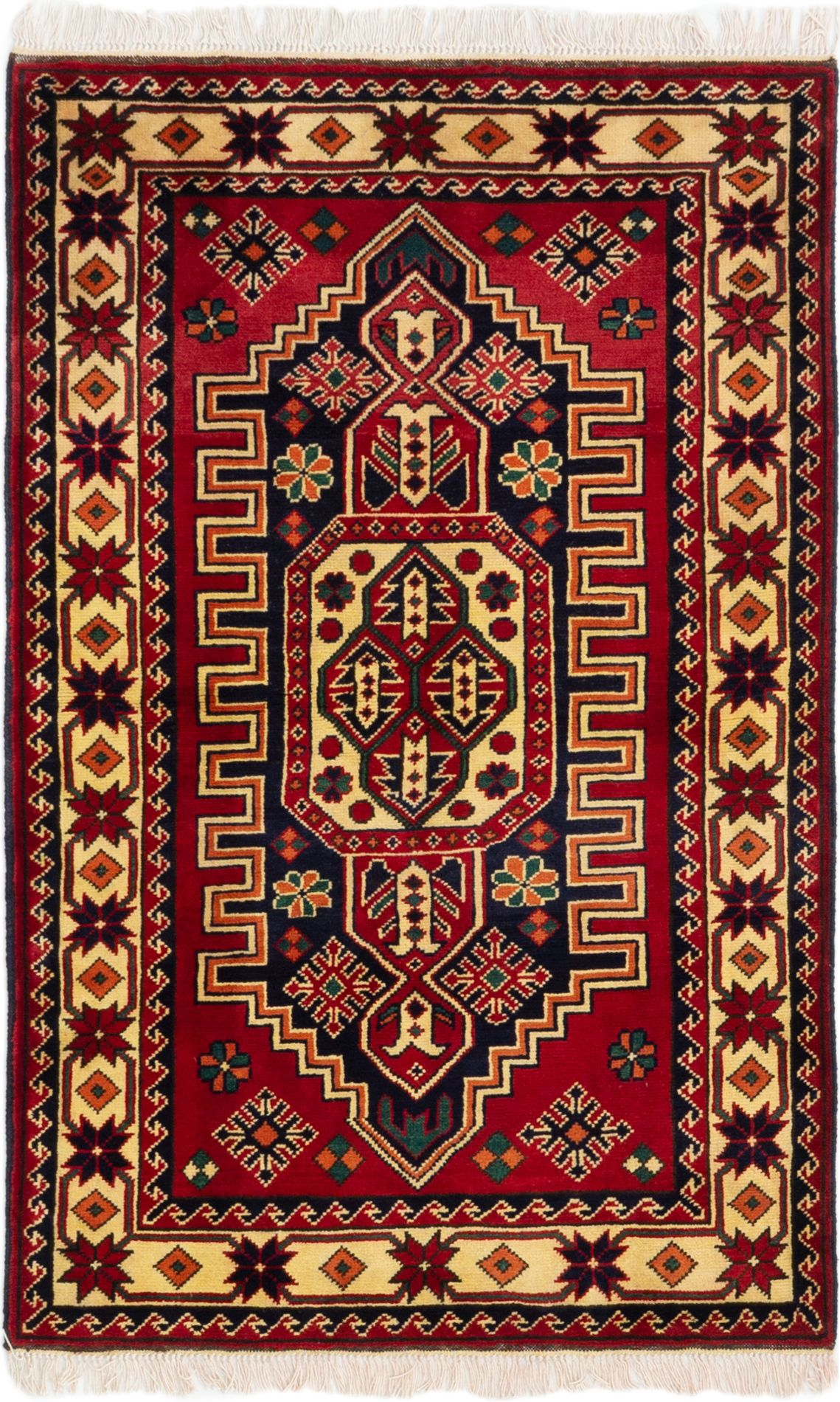 "Hand-knotted Finest Kargahi Red Wool Rug 2'11"" x 4'7"" Size: 2'11"" x 4'7"""