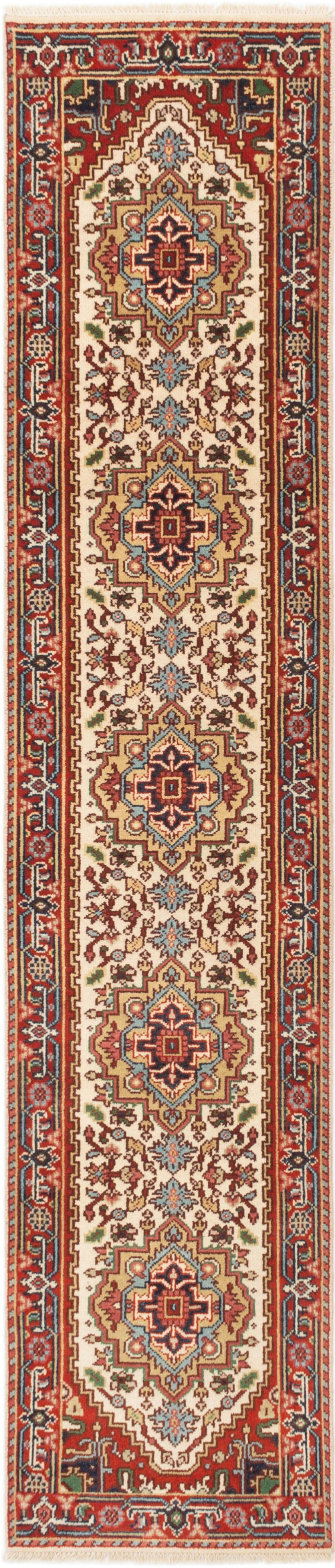 """Hand-knotted Serapi Heritage Cream Wool Rug 2'6"""" x 12'1""""  Size: 2'6"""" x 12'1"""""""