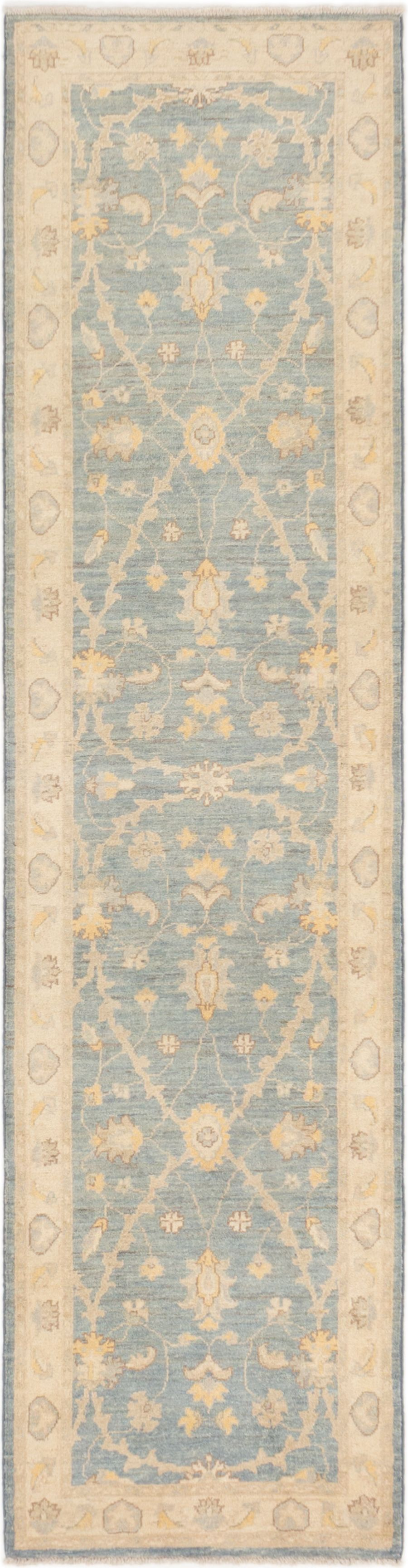 "Hand-knotted Peshawar Finest Light Denim Blue Wool Rug 2'5"" x 9'7"" Size: 2'5"" x 9'7"""