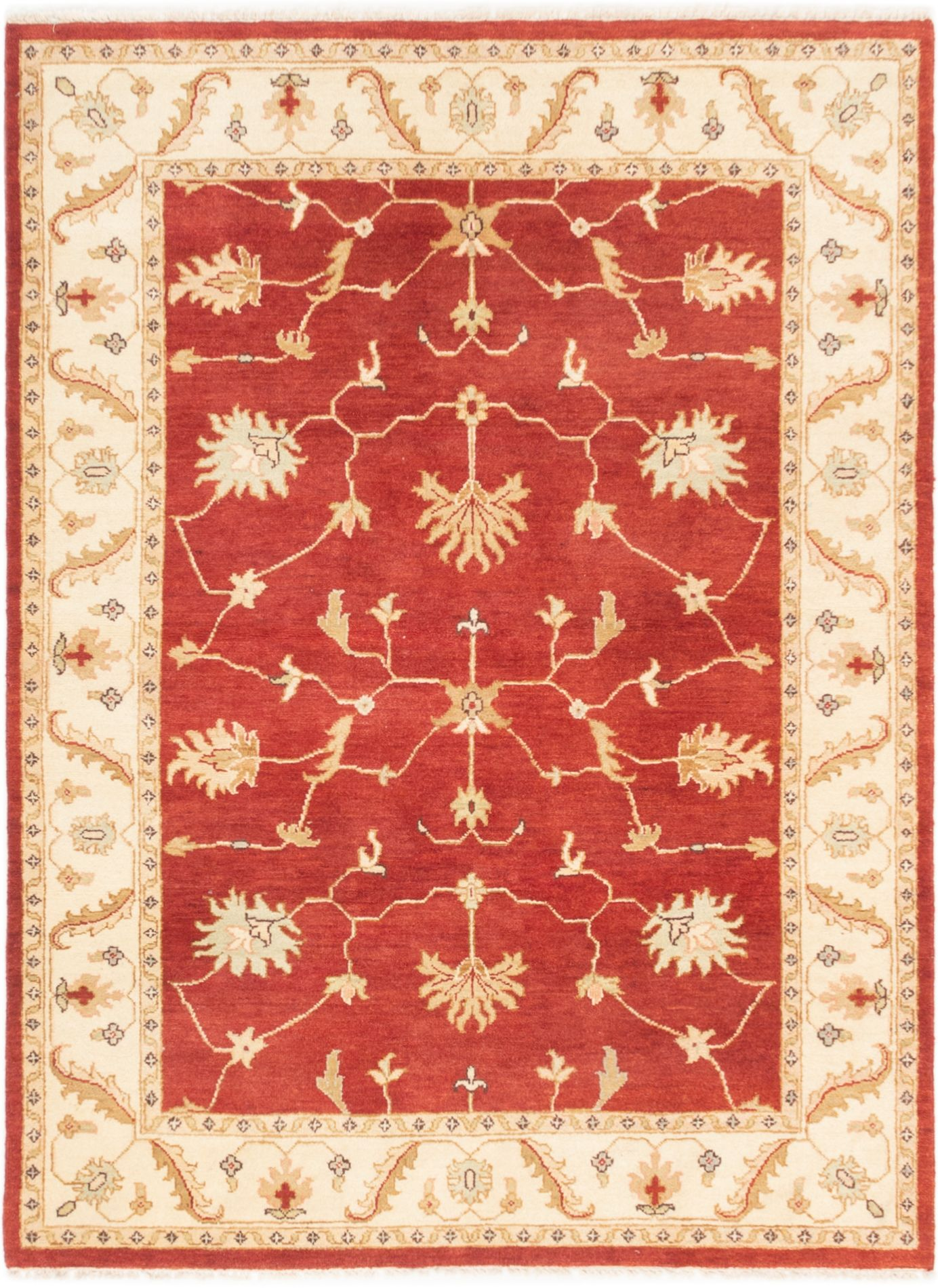 "Hand-knotted Peshawar Finest Dark Red Wool Rug 4'1"" x 6'7"" Size: 4'1"" x 6'7"""