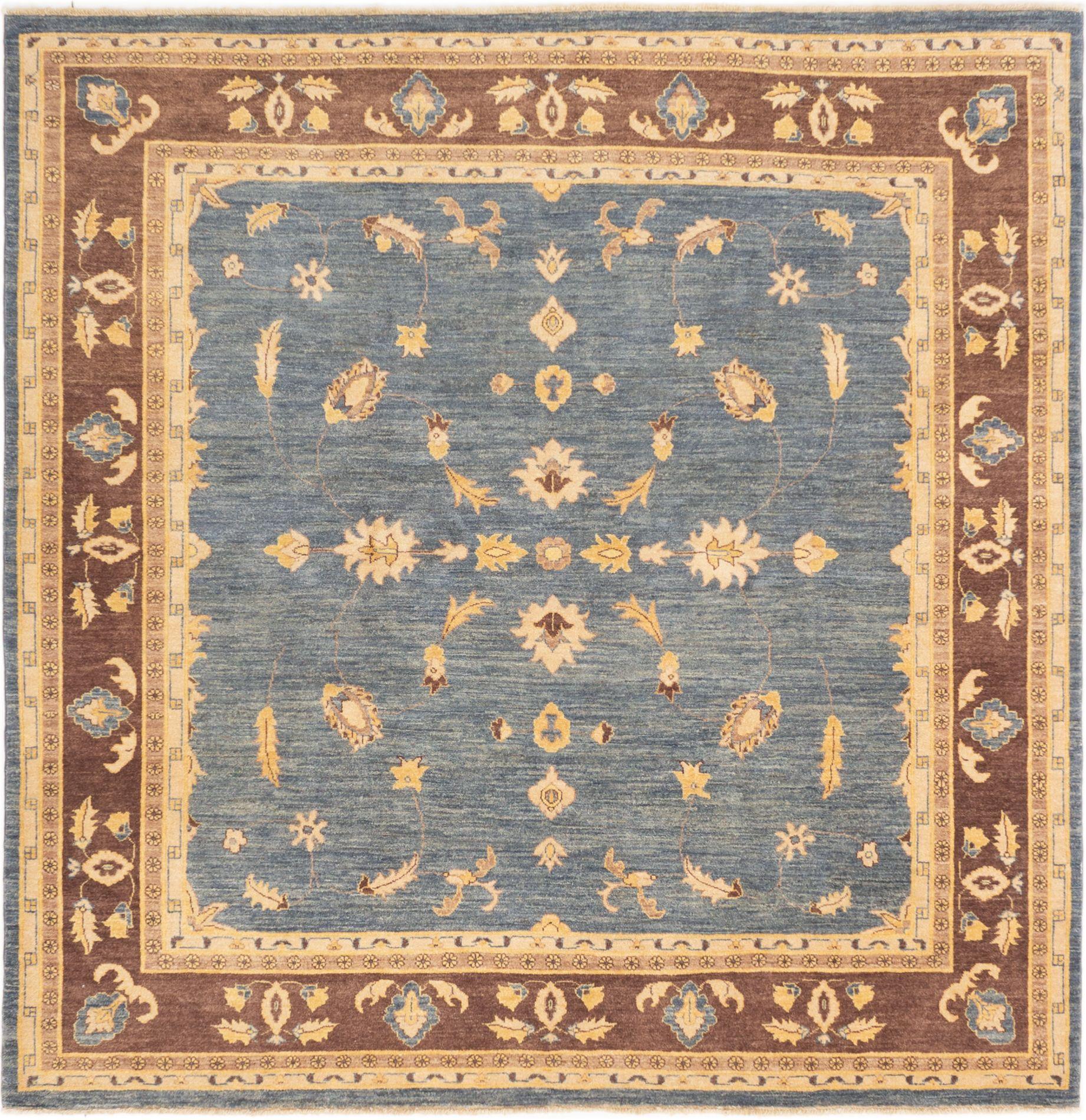 "Hand-knotted Peshawar Finest Light Denim Blue,  Wool Rug 8'1"" x 8'1"" Size: 8'1"" x 8'1"""