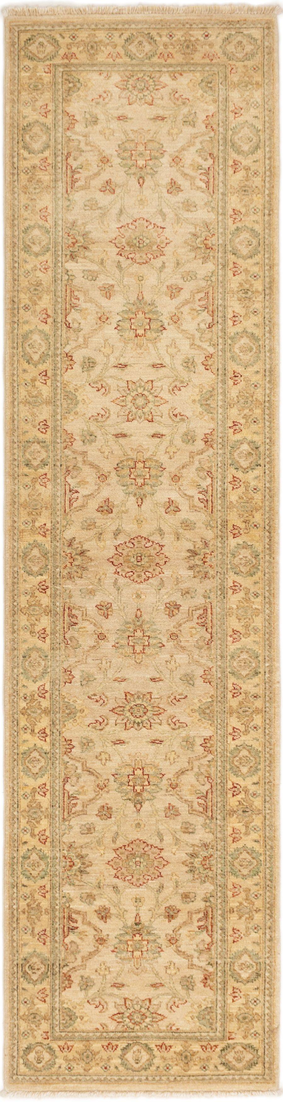 "Hand-knotted Peshawar Finest Beige Wool Rug 2'7"" x 10'1"" Size: 2'7"" x 10'1"""