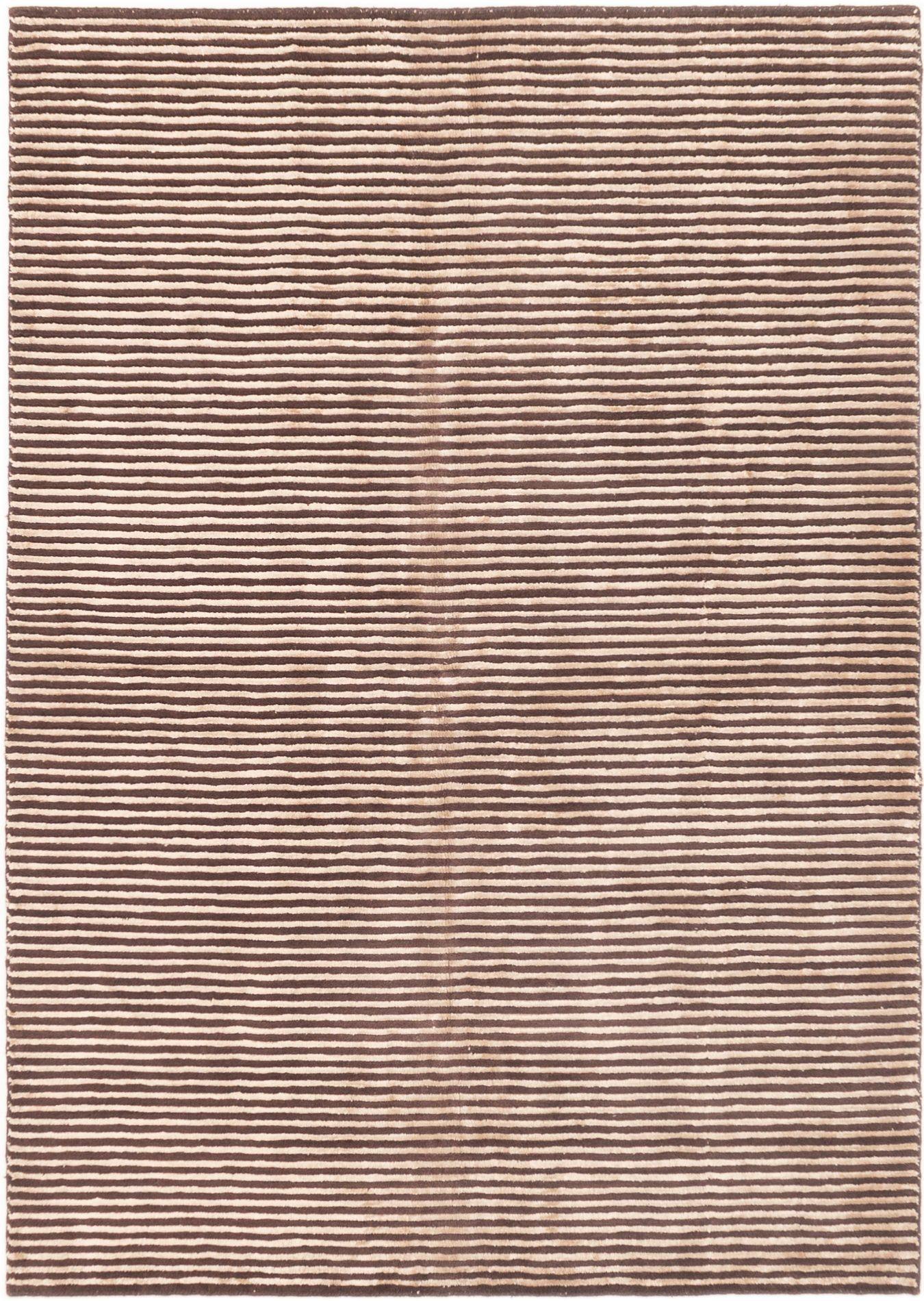 """Hand-knotted Luribaft Gabbeh Riz Beige, Dark Brown Wool/Silk Rug 5'0"""" x 7'8"""" Size: 5'0"""" x 7'8"""""""