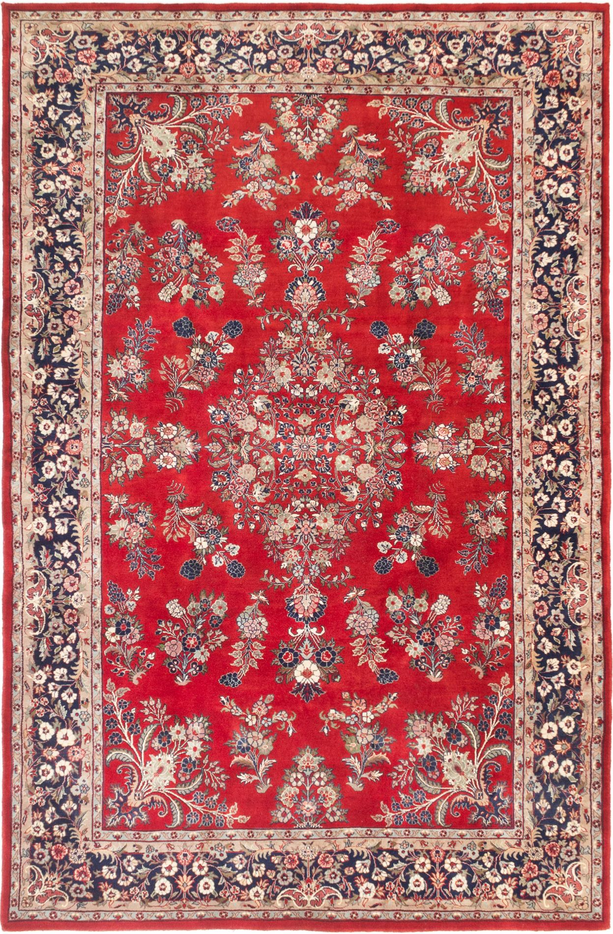 """Hand-knotted Royal Sarough Dark Red Wool Rug 5'10"""" x 9'0"""" Size: 5'10"""" x 9'0"""""""