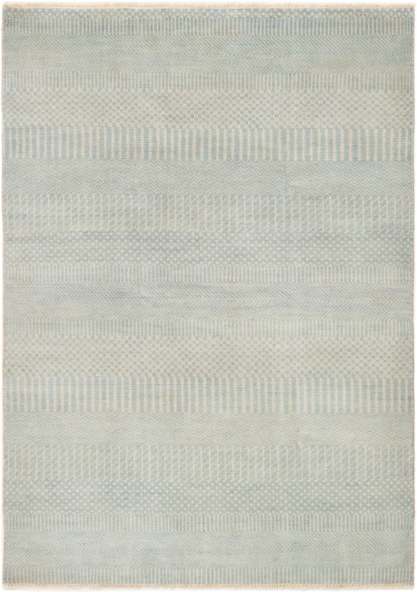 "Hand-knotted Finest Ushak Light Blue  Wool Rug 5'8"" x 8'0"" Size: 5'8"" x 8'0"""