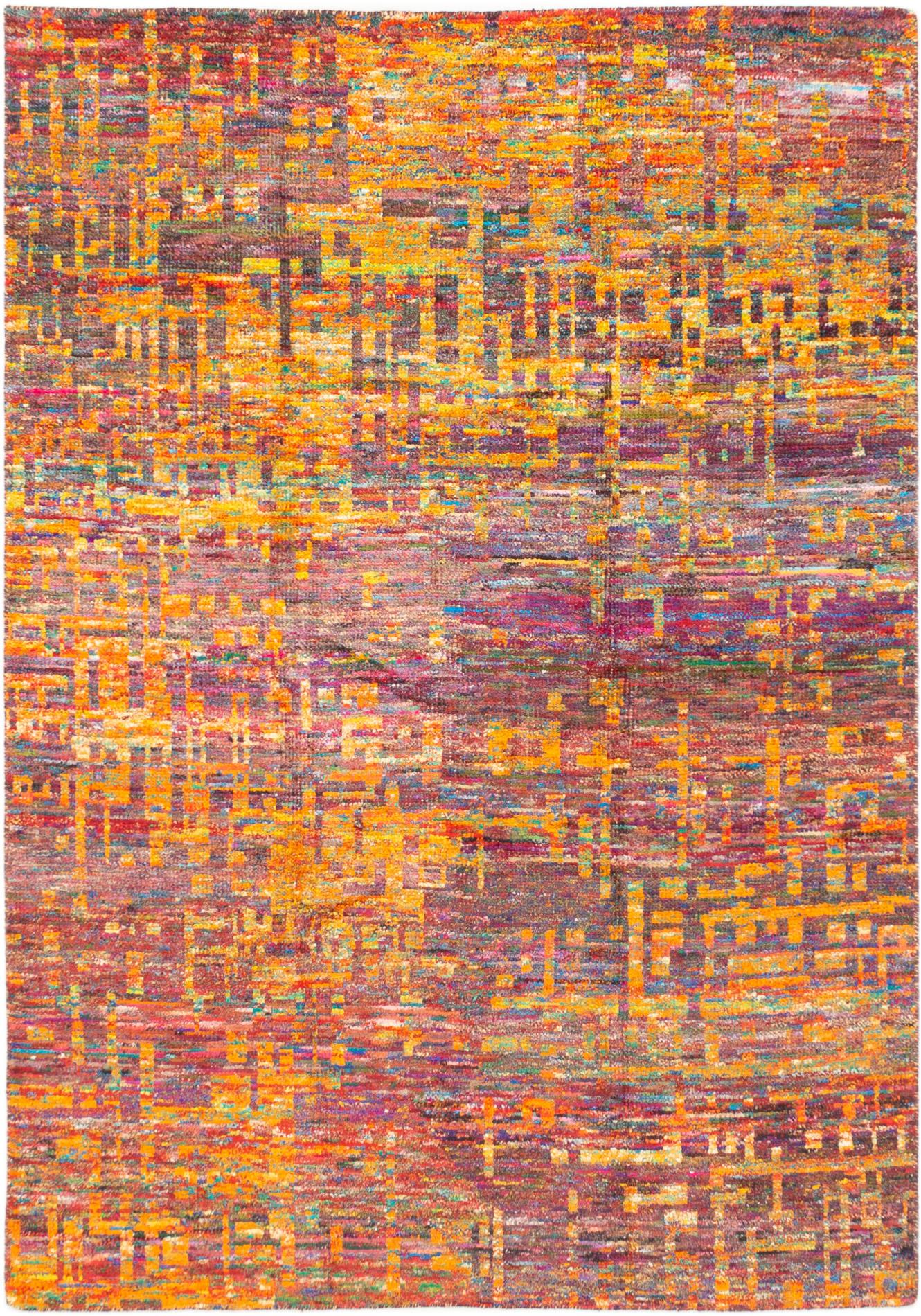 """Hand-knotted Sari Silk Dark Red, Orange  Rug 5'8"""" x 8'1"""" Size: 5'8"""" x 8'1"""""""