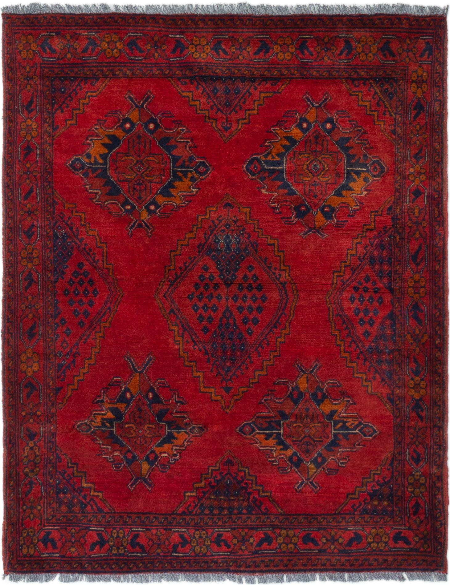 """Hand-knotted Finest Khal Mohammadi Red Wool Rug 3'7"""" x 4'6"""" Size: 3'7"""" x 4'6"""""""