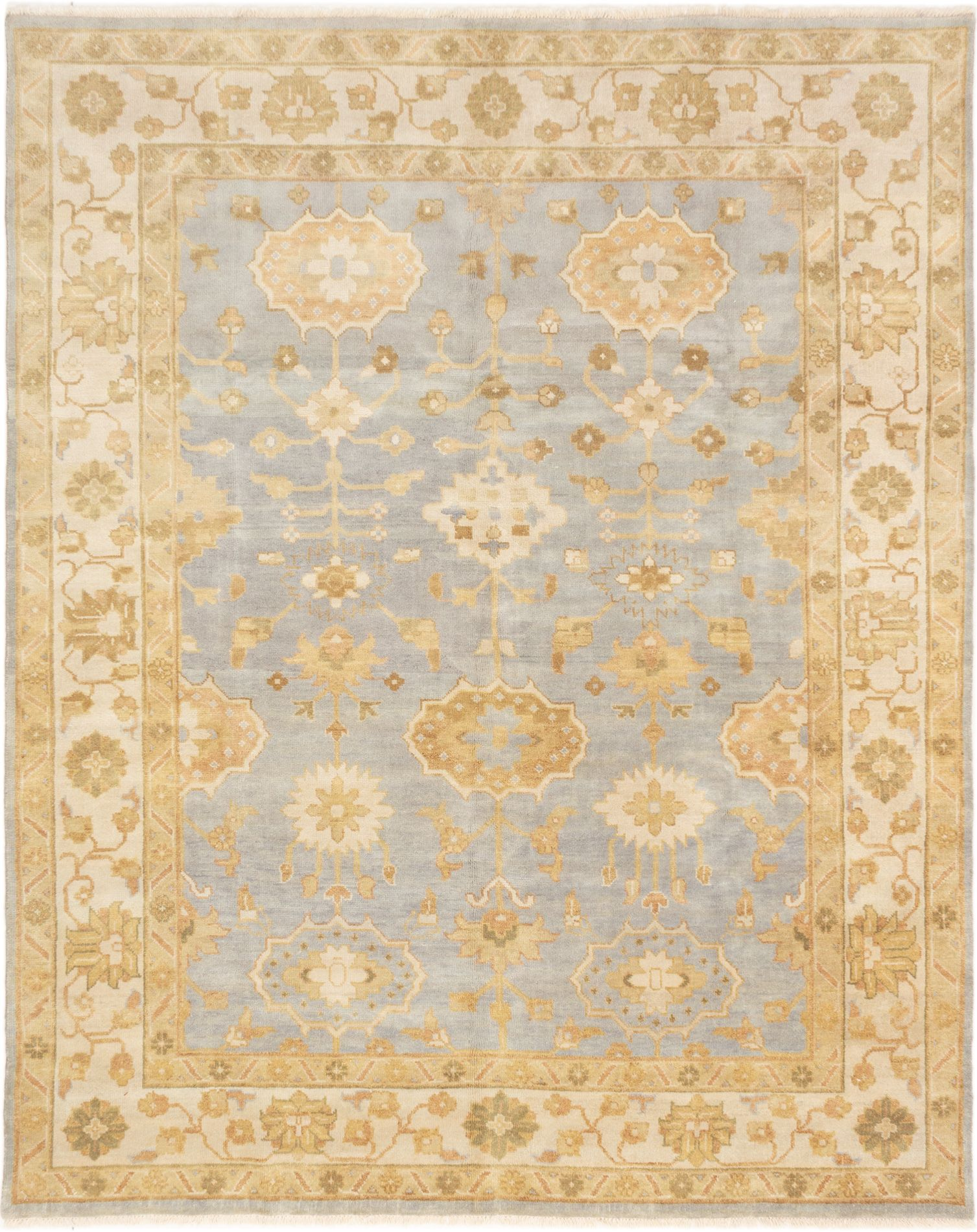 "Hand-knotted Finest Ushak Light Blue  Wool Rug 8'2"" x 10'2"" Size: 8'2"" x 10'2"""