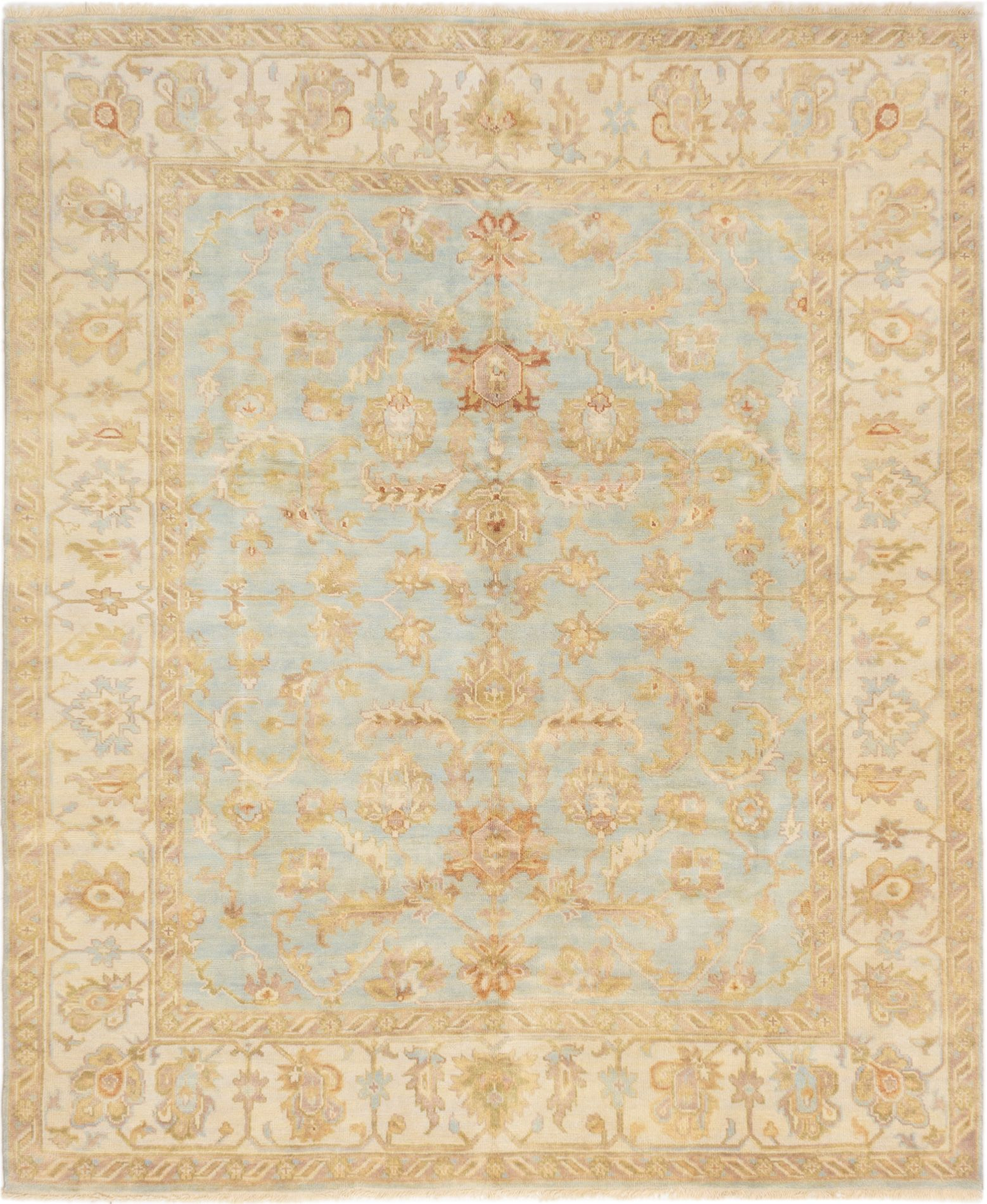 "Hand-knotted Finest Ushak Light Blue  Wool Rug 8'2"" x 9'10"" Size: 8'2"" x 9'10"""
