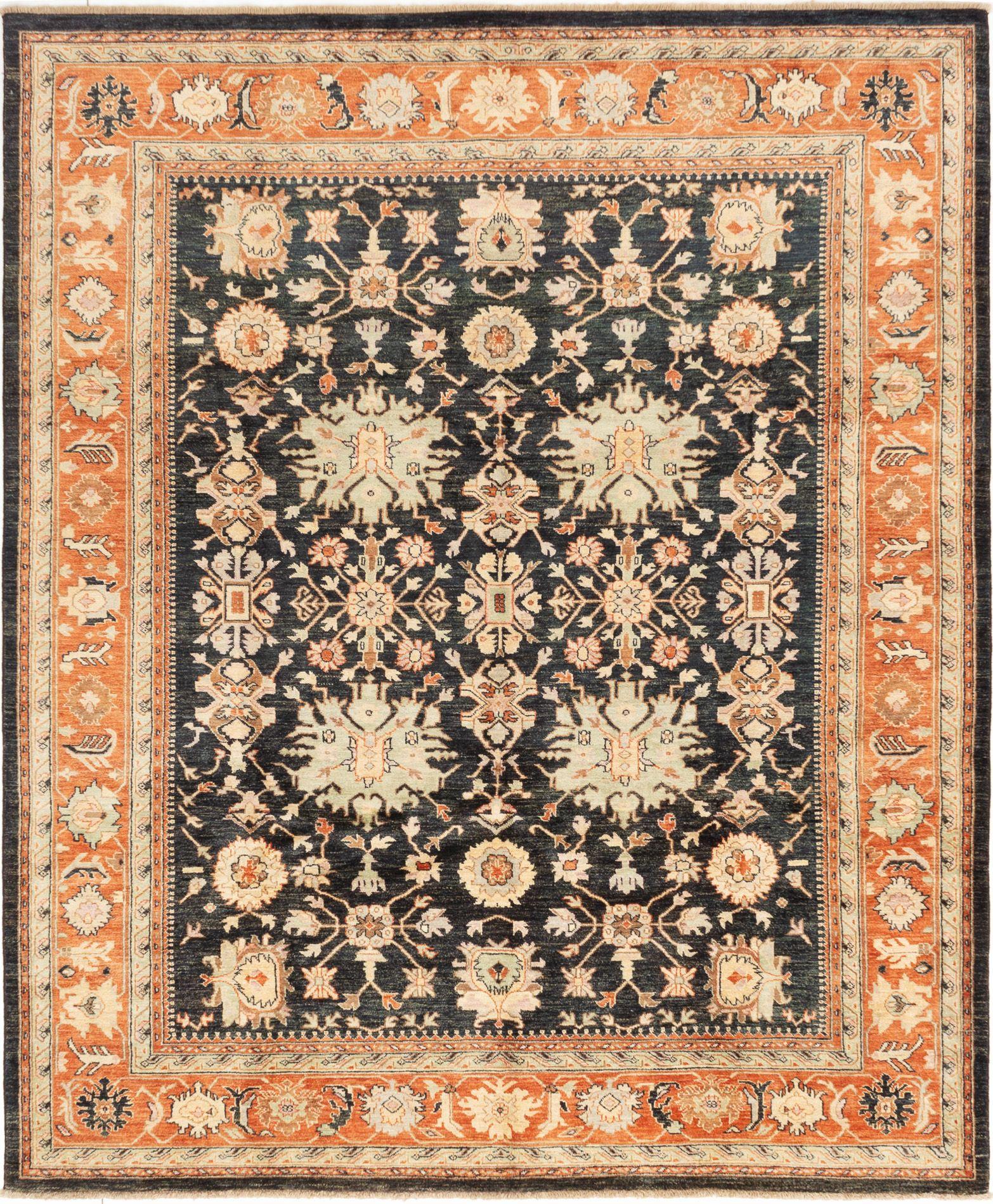 """Hand-knotted Peshawar Finest Dark Navy Wool Rug 8'2"""" x 9'9"""" Size: 8'2"""" x 9'9"""""""
