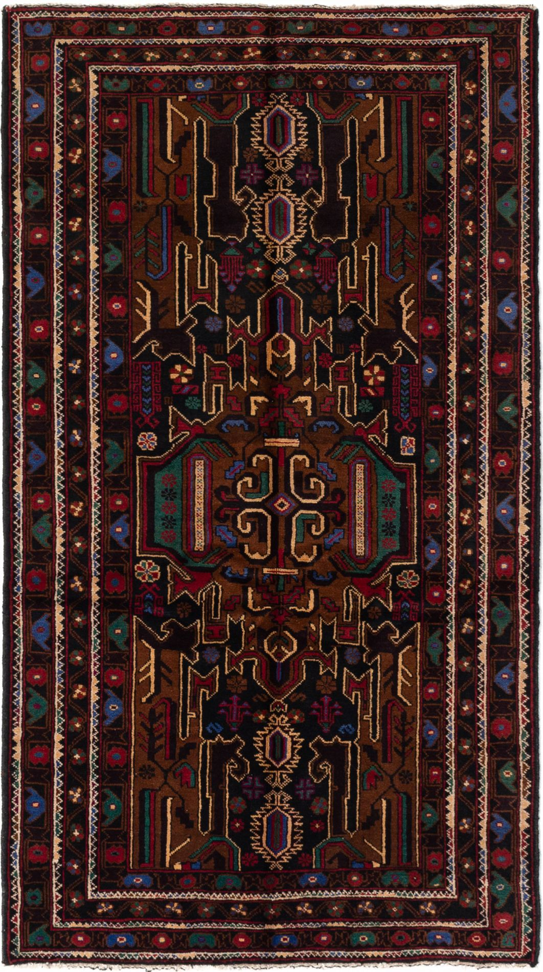 """Hand-knotted Royal Baluch Dark Navy Wool Rug 3'7"""" x 6'7""""  Size: 3'7"""" x 6'7"""""""