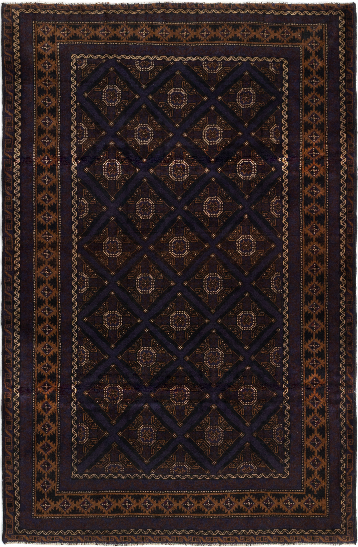 """Hand-knotted Royal Baluch Dark Brown, Slate Blue Wool Rug 4'0"""" x 6'4"""" Size: 4'0"""" x 6'4"""""""