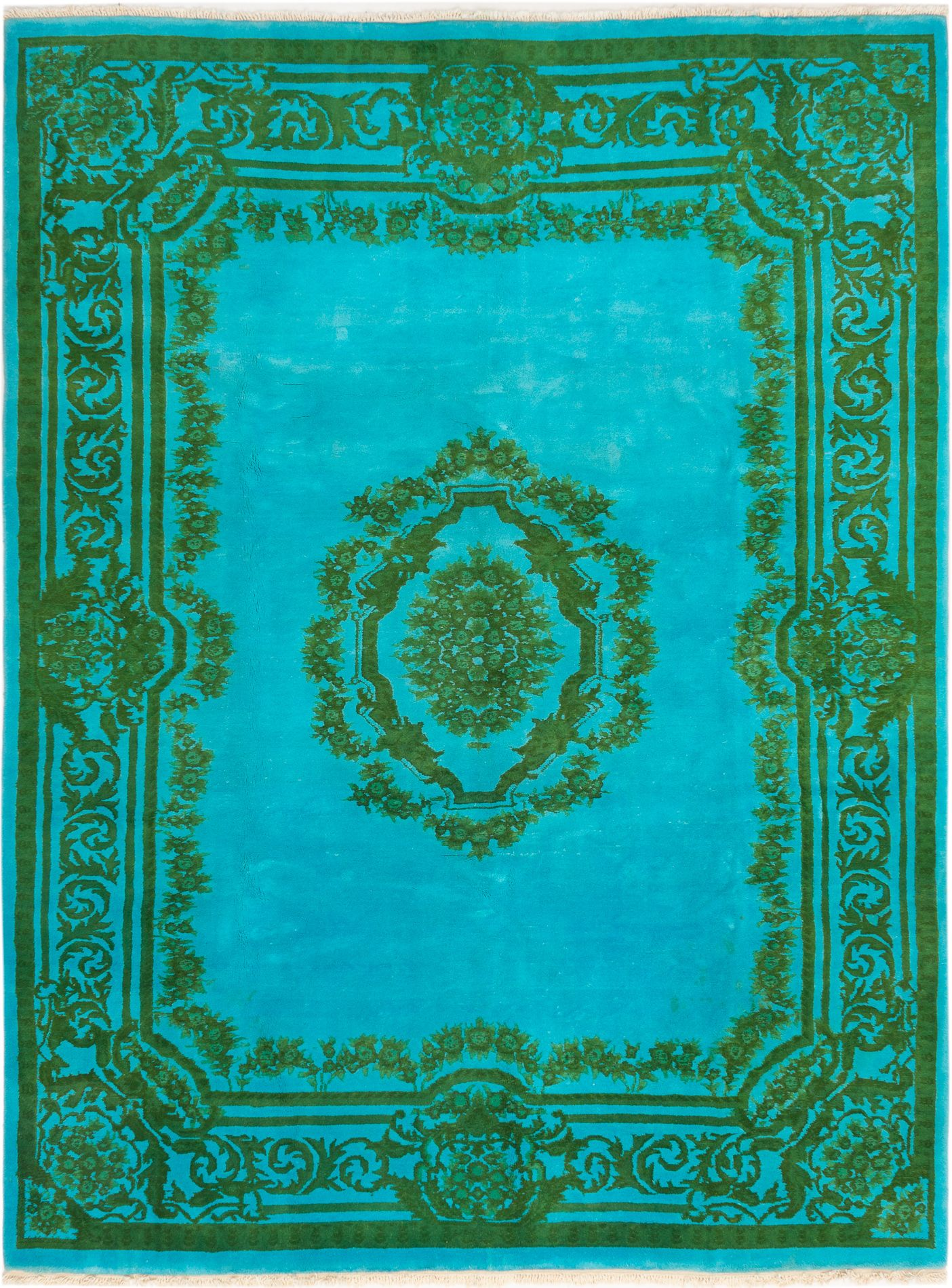 "Hand-knotted Color transition Cyan Wool Rug 8'9"" x 11'6"" Size: 8'9"" x 11'6"""