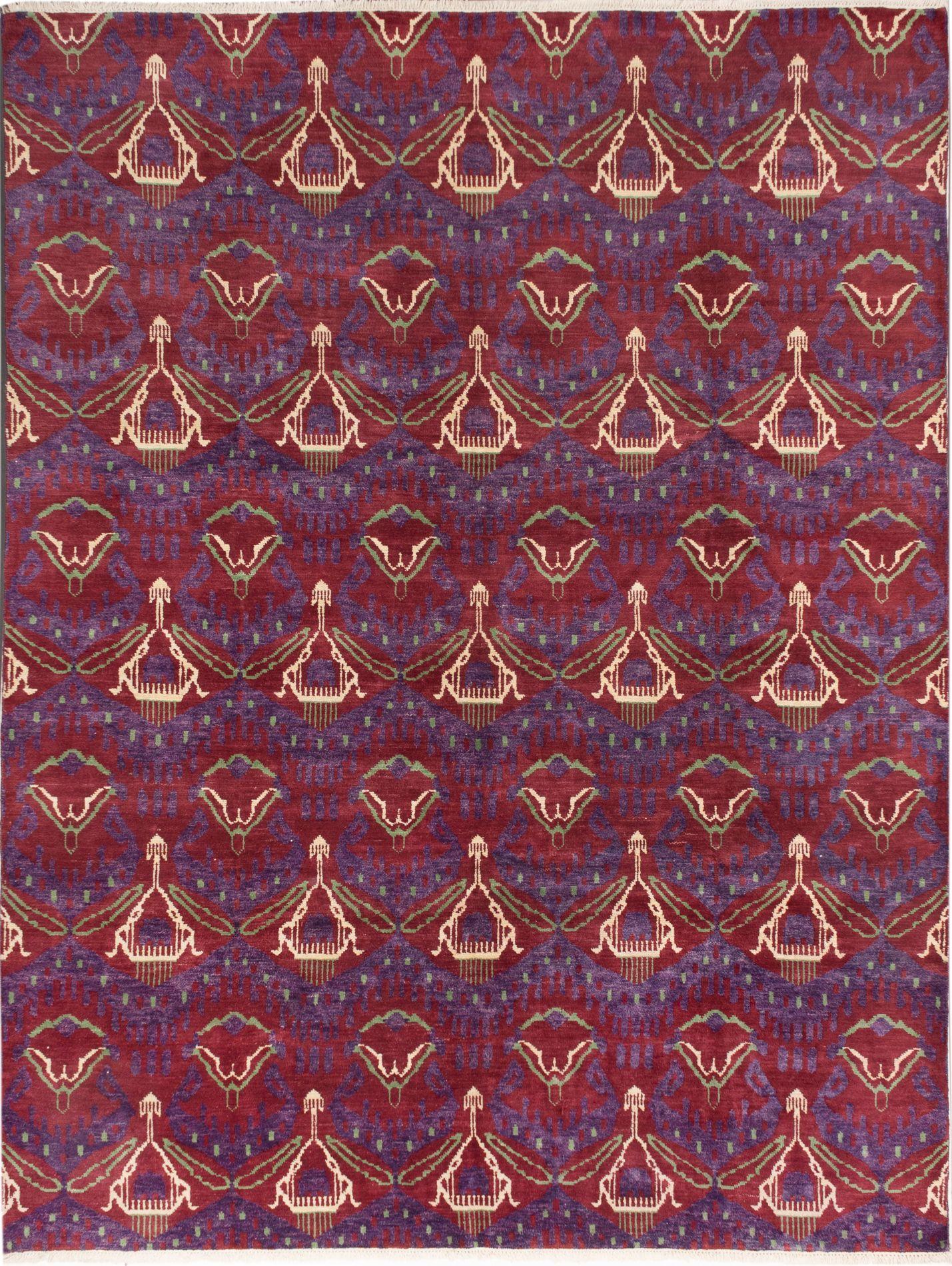 "Hand-knotted Finest Ushak Dark Red Wool Rug 9'0"" x 11'10"" Size: 9'0"" x 11'10"""