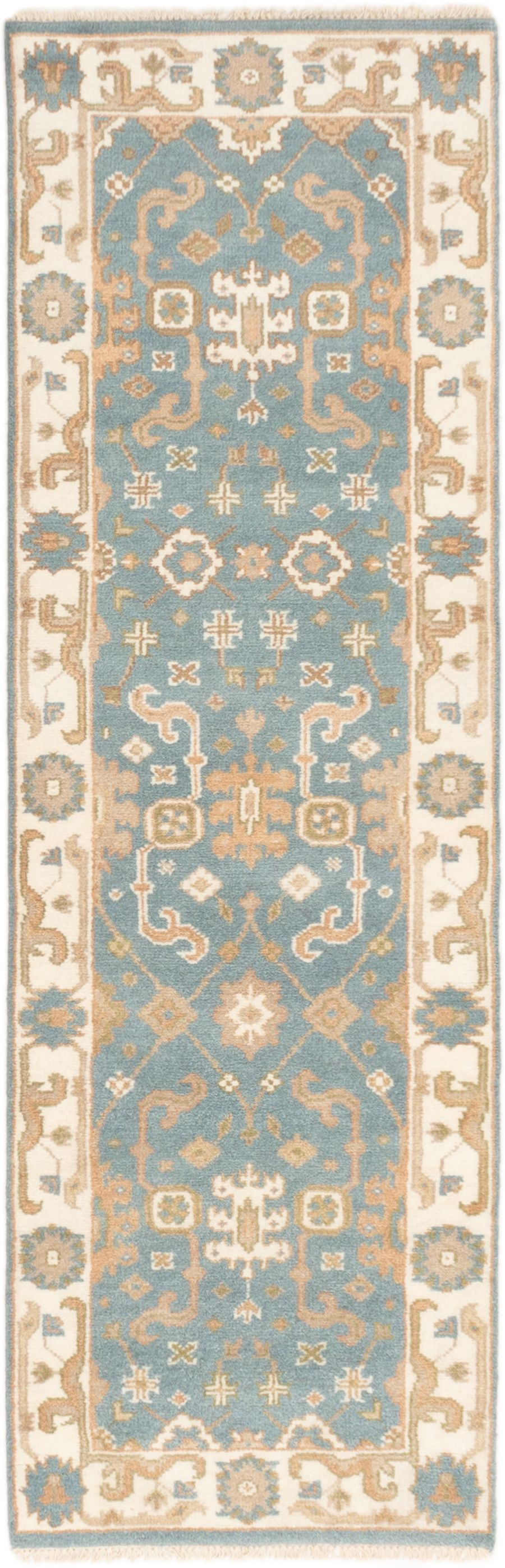 "Hand-knotted Royal Ushak Light Denim Blue,  Wool Rug 2'7"" x 8'0""  Size: 2'7"" x 8'0"""