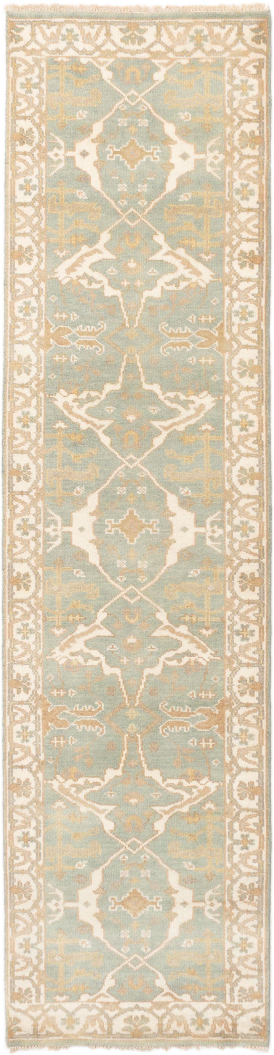 "Hand-knotted Royal Ushak Light Blue  Wool Rug 2'8"" x 10'3"" Size: 2'8"" x 10'3"""