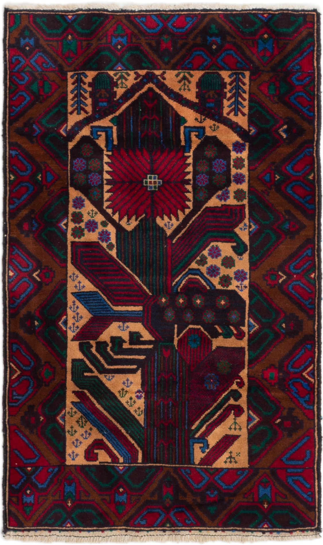 """Hand-knotted Finest Rizbaft Red Wool Rug 2'9"""" x 4'7""""  Size: 2'9"""" x 4'7"""""""