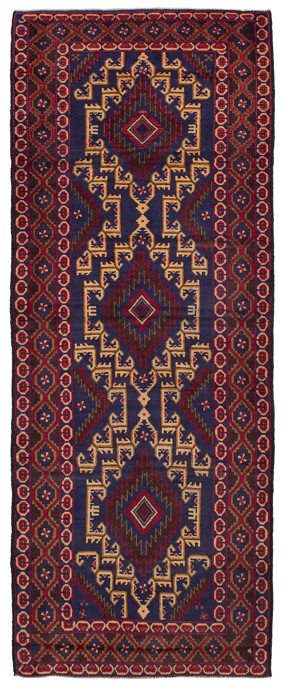 """Hand-knotted Royal Baluch Red Wool Rug 3'3"""" x 8'8"""" Size: 3'3"""" x 8'8"""""""