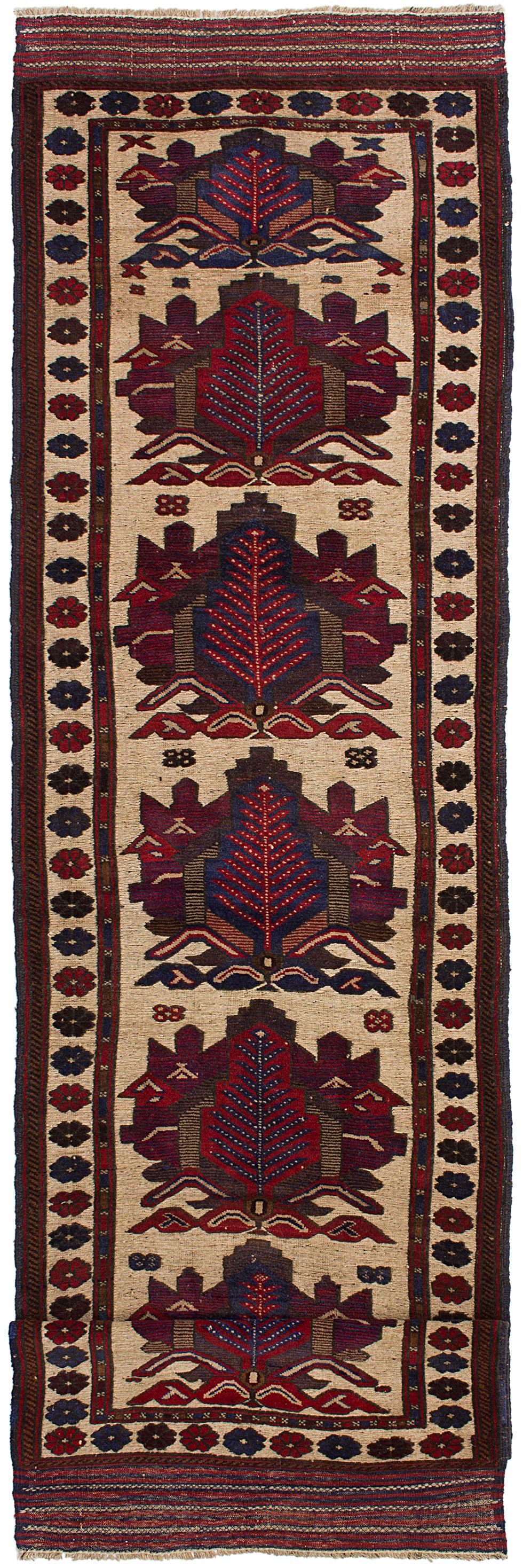 "Hand-knotted Tajik Caucasian Cream, Dark Red Wool Rug 2'10"" x 11'7"" Size: 2'10"" x 11'7"""