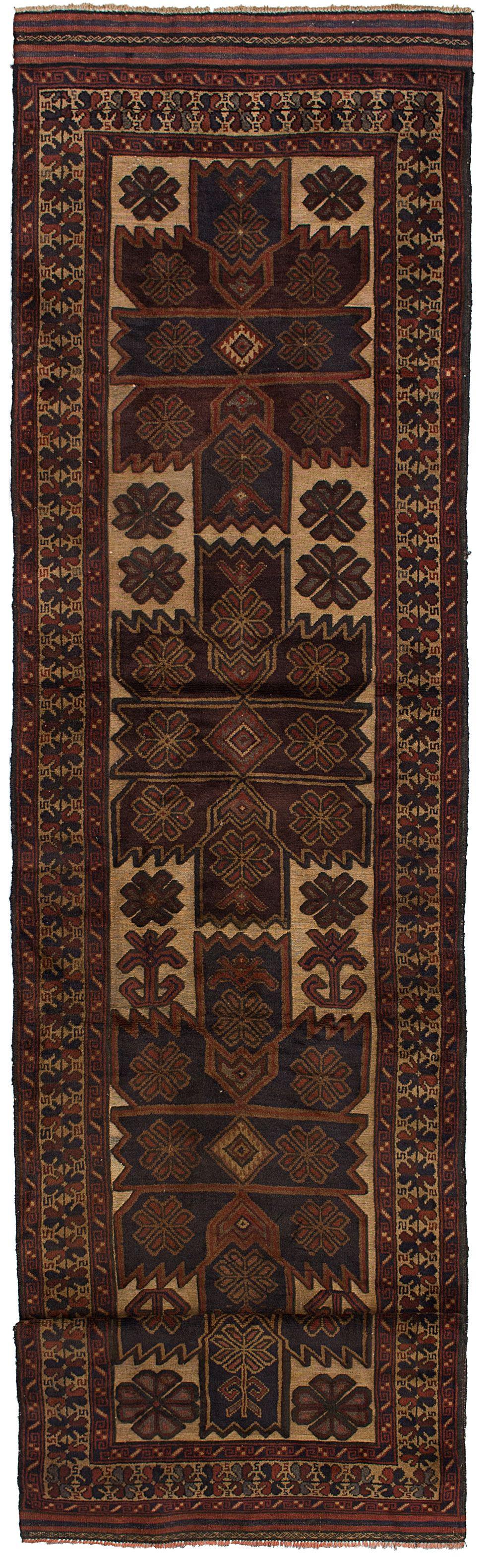 "Hand-knotted Tajik Caucasian Beige, Burgundy Wool Rug 2'9"" x 12'4"" Size: 2'9"" x 12'4"""