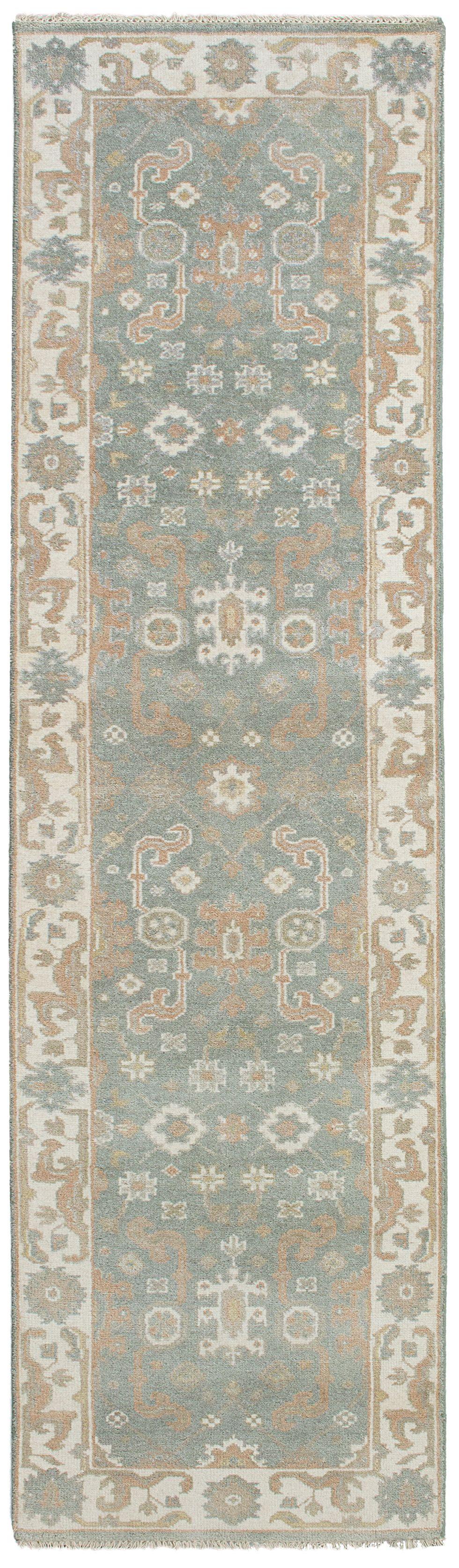 "Hand-knotted Royal Ushak Light Denim Blue Wool Rug 2'7"" x 9'11"" Size: 2'7"" x 9'11"""