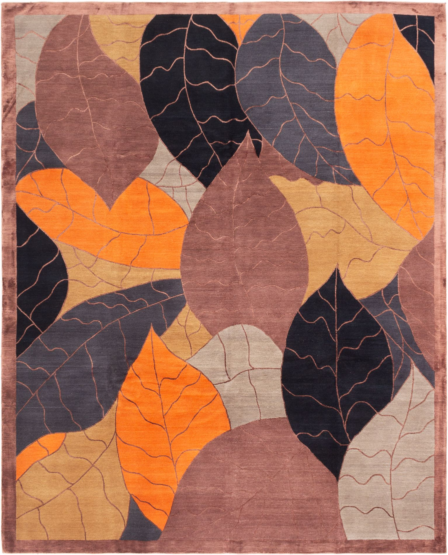 """Hand-knotted Silk Touch Brown, Orange  Rug 8'0"""" x 10'0"""" Size: 8'0"""" x 10'0"""""""