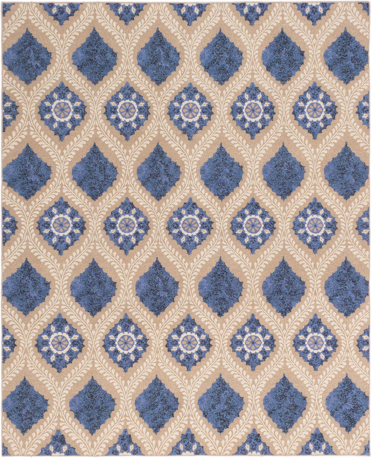 """Hand woven Tamar II Blue Wool Tapestry Kilim 7'9"""" x 9'9"""" Size: 7'9"""" x 9'9"""""""