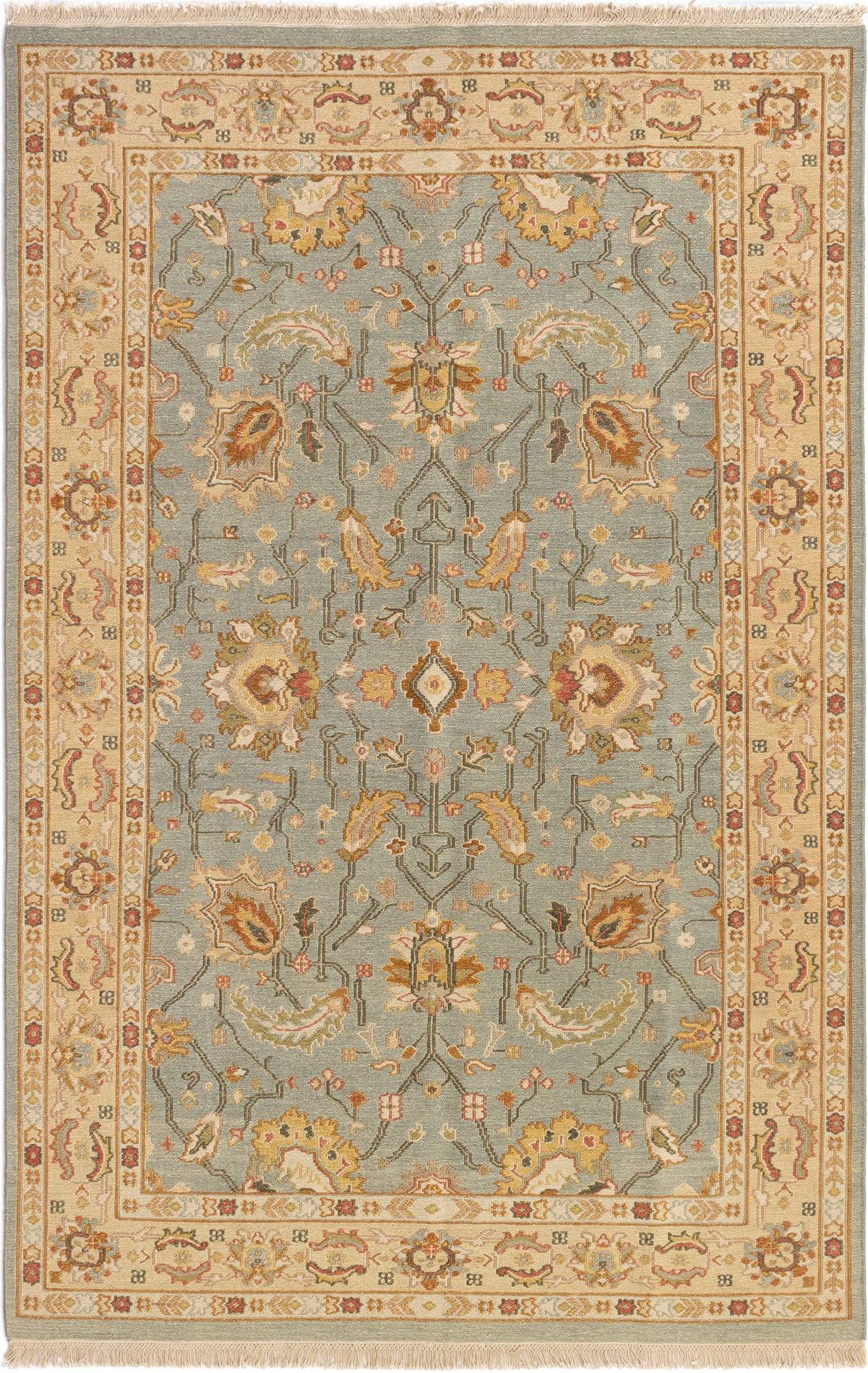 """Hand woven Lahor Finest Light Blue  Wool Tapestry Kilim 5'7"""" x 8'6"""" Size: 5'7"""" x 8'6"""""""
