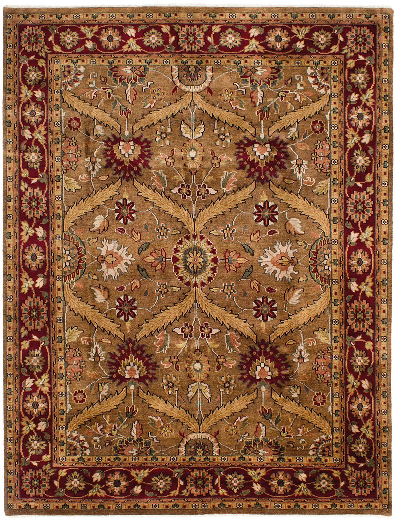 """Hand-knotted Royal Mahal Brown Wool Rug 7'9"""" x 9'9"""" Size: 7'9"""" x 9'9"""""""