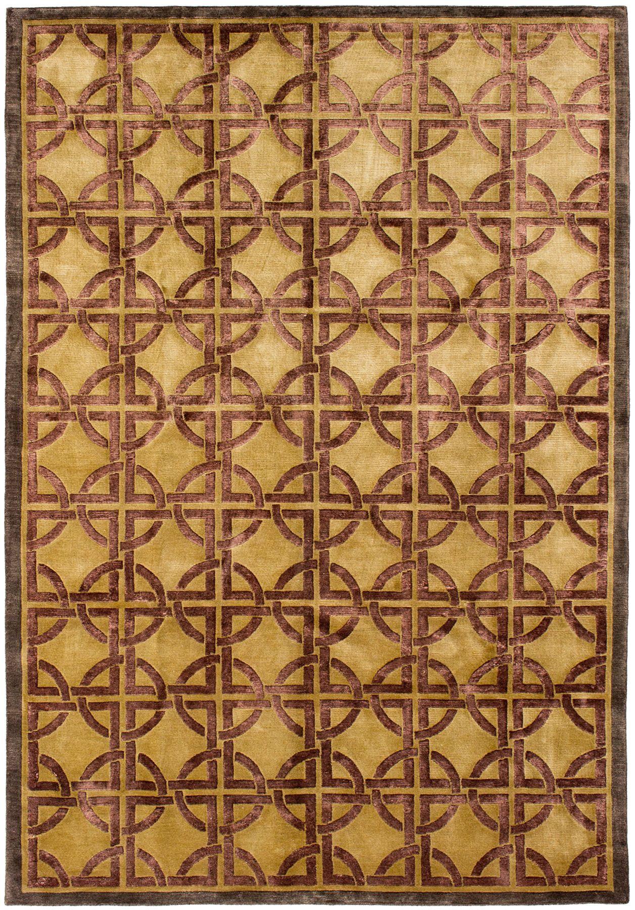 """Hand-knotted Silk Touch Dark Burgundy, Khaki Wool/Silk Rug 5'7"""" x 8'8"""" Size: 5'7"""" x 8'8"""""""