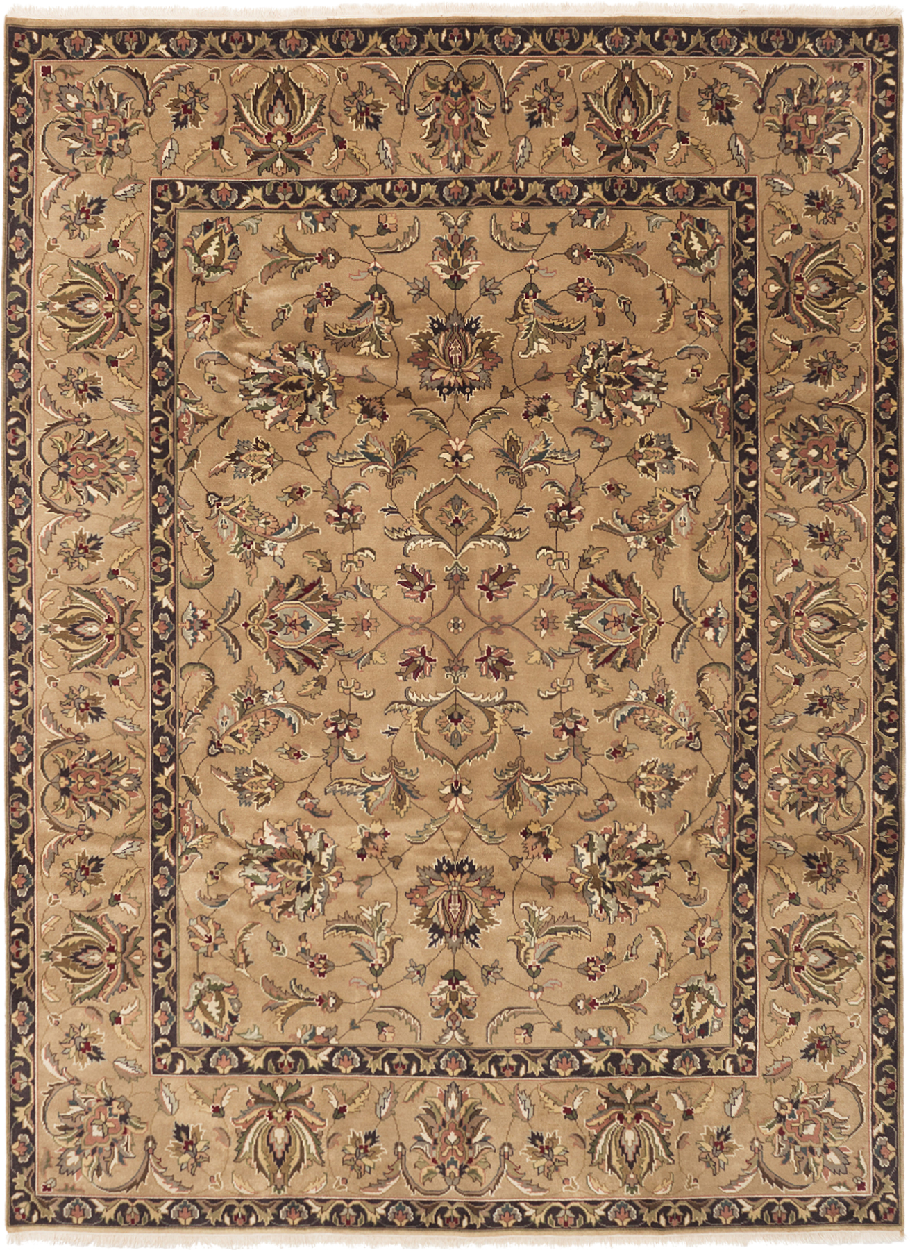 "Hand-knotted Finest Agra Jaipur Tan Wool Rug 8'6"" x 11'6"" Size: 8'6"" x 11'6"""
